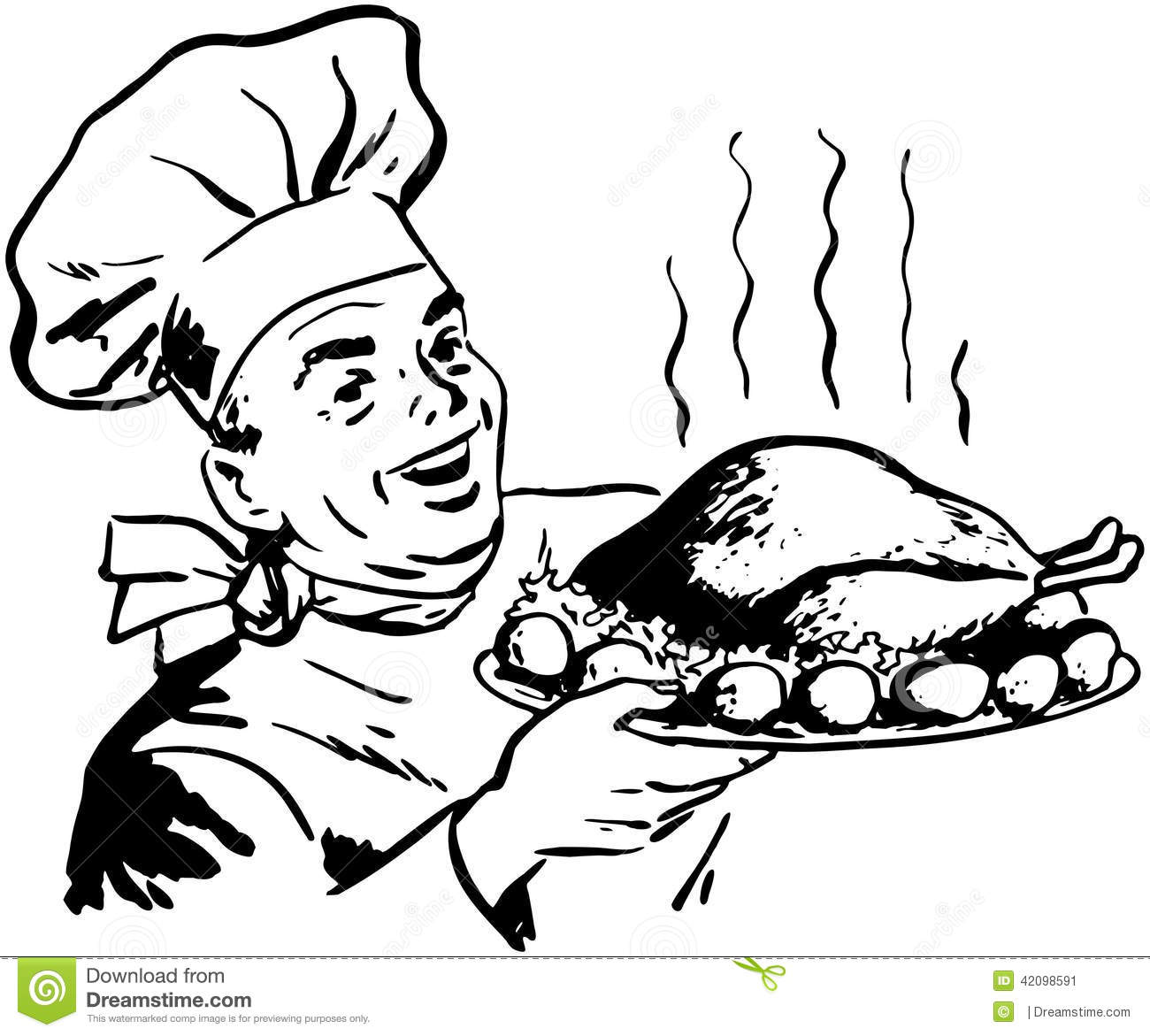 Chef With Roast Poultry Stock Vector Illustration Of