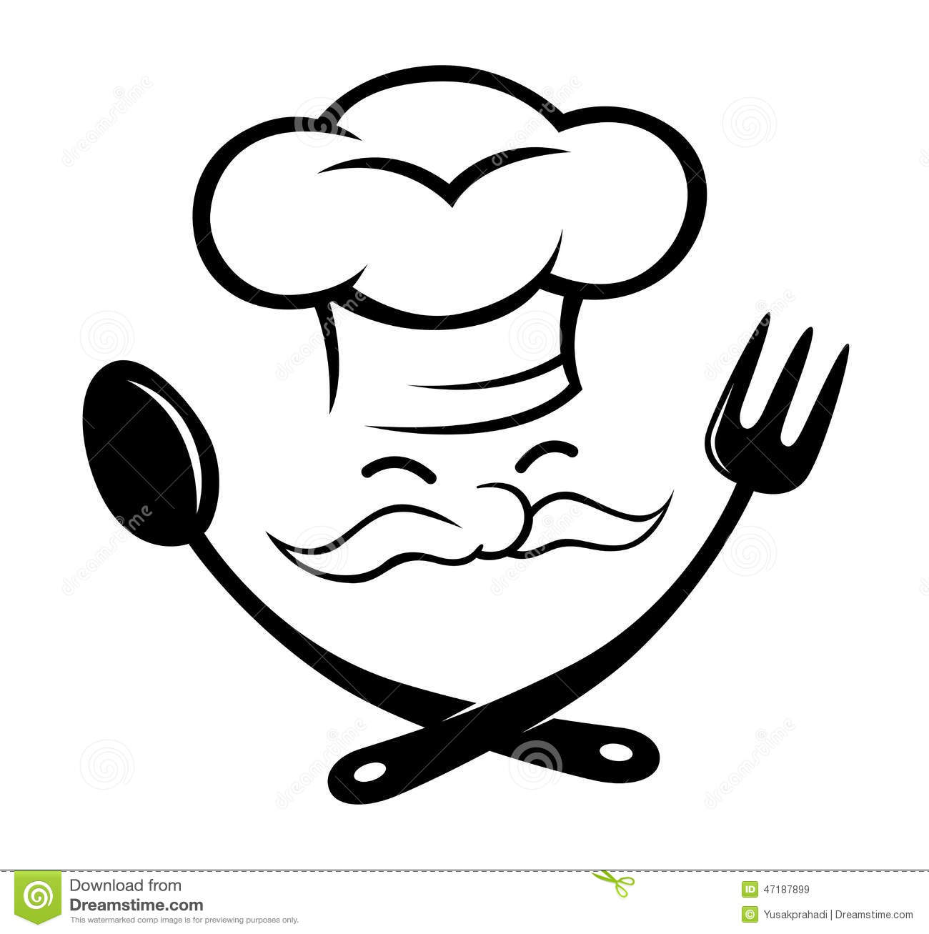 Chef With Spoon And Fork Icon Stock Vector
