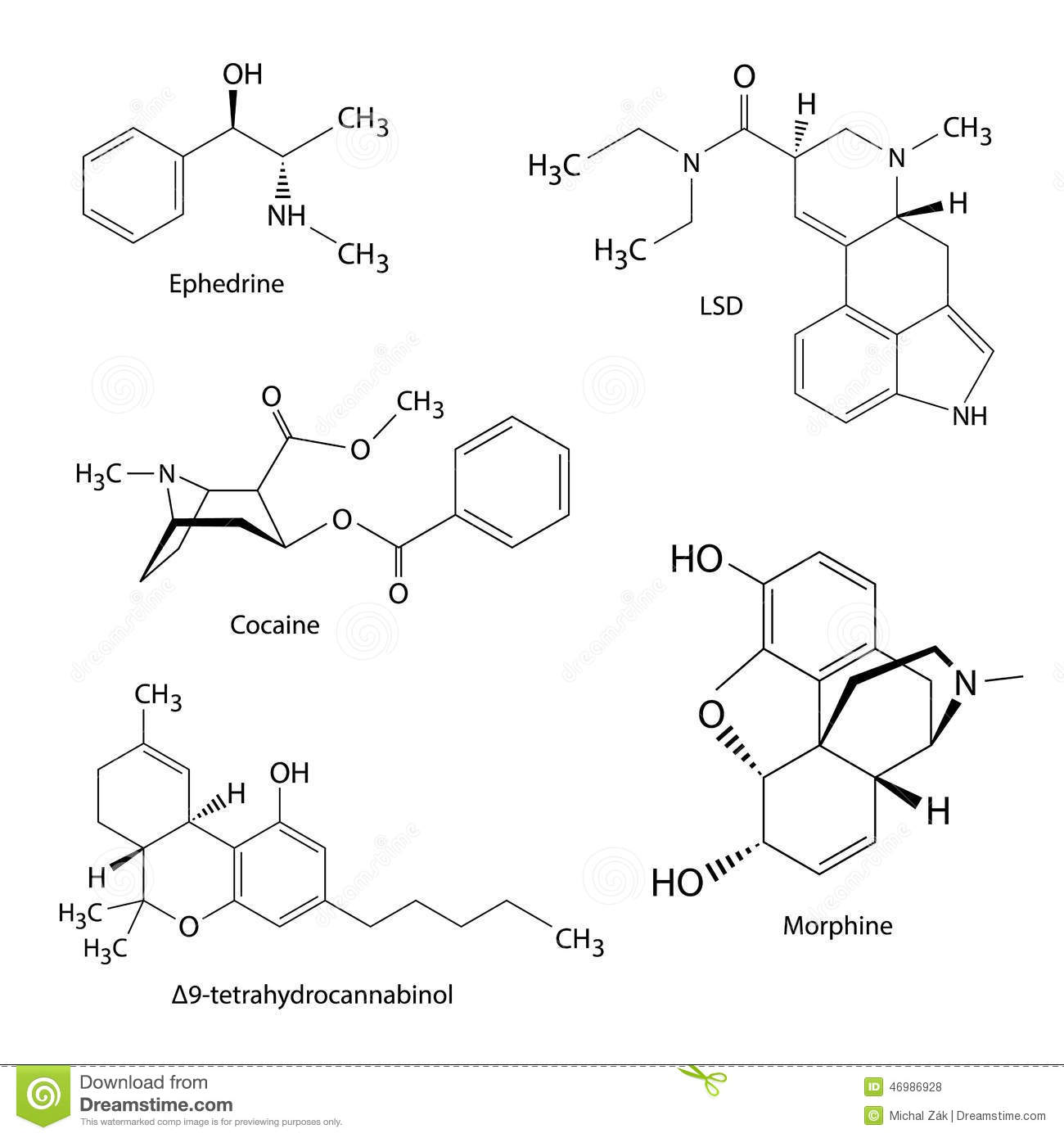 Chemical Formulas Of Illicit Drugs And Substances Stock