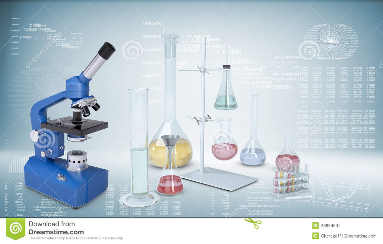 Chemical Laboratory Equipment Microscope Flasks Stock Illustration