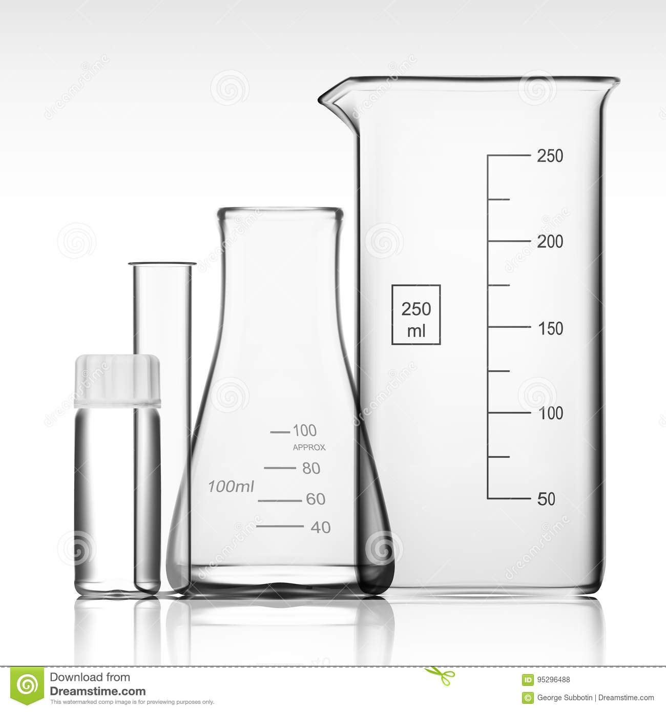 Chemical Laboratory Glassware Or Beaker Glass Equipment Empty Clear Test Tube Stock Photo