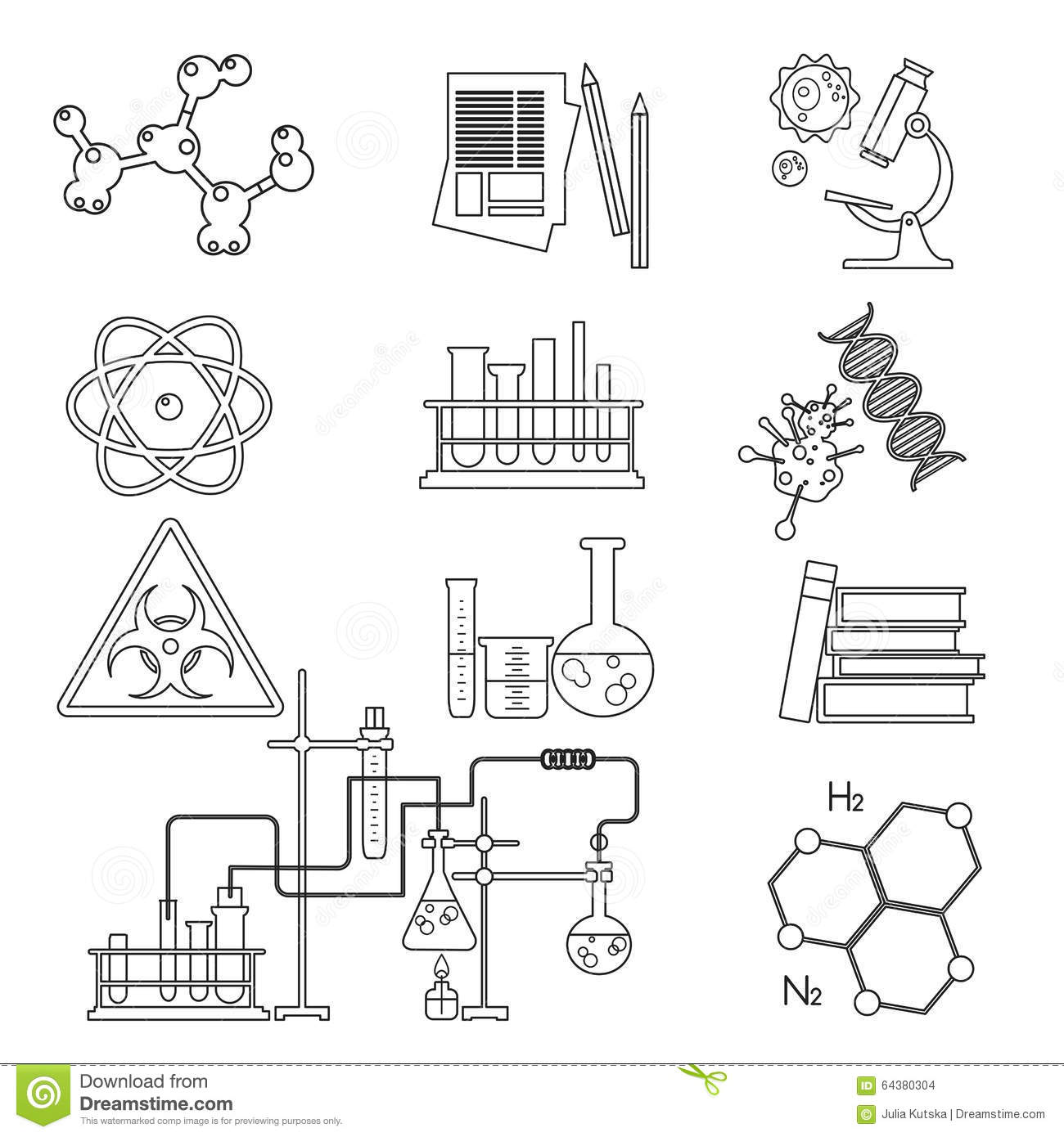 Chemical Laboratory Science And Technology Thin Line Icons Set Workplace Tools Stock Vector