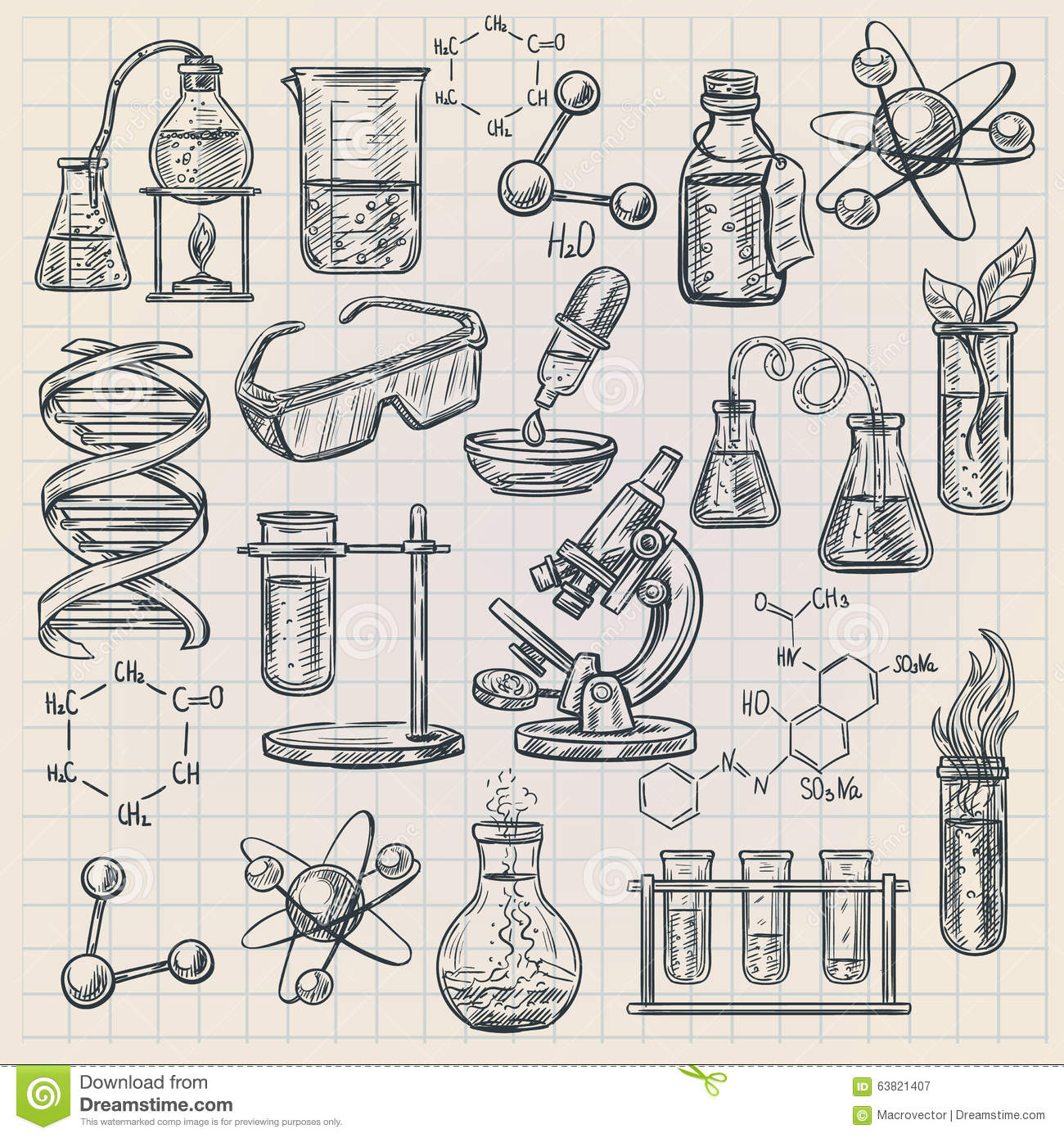 Chemistry Icon In Doodle Style Stock Vector