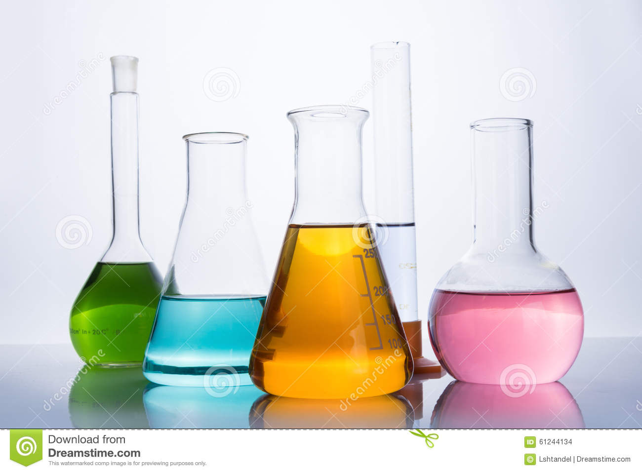 Chemistry Laboratory Equipment Flasks And Test Tube Stock Photo