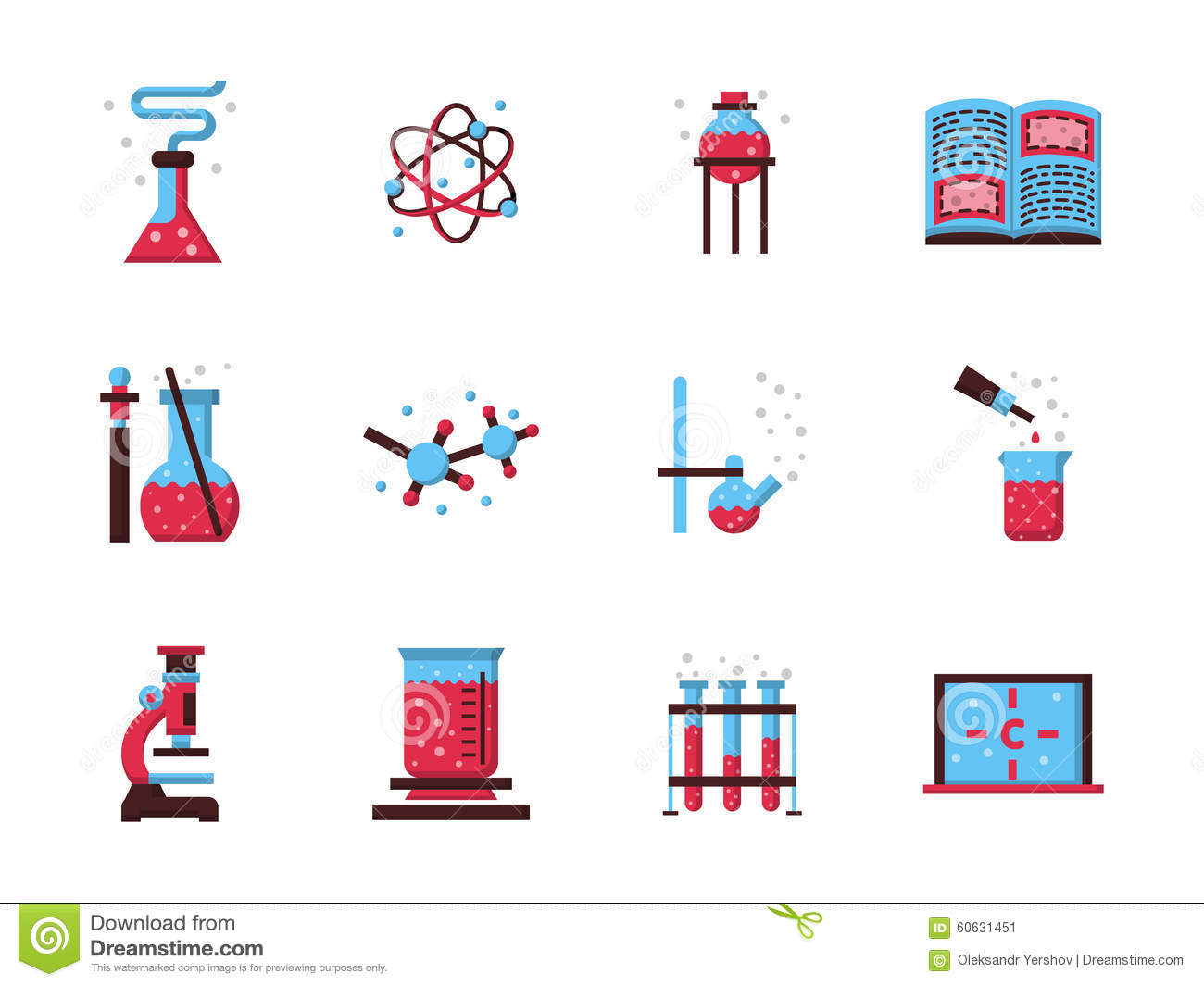 Chemistry Science Flat Color Icons Stock Image
