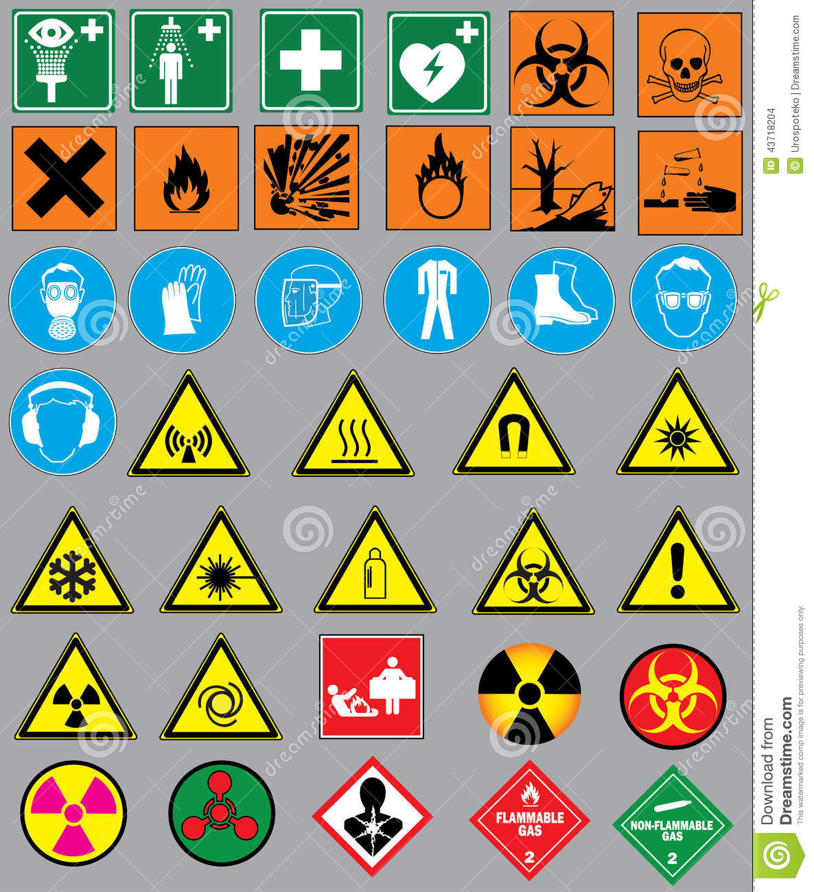 Laboratory Safety Signs Symbols Clipart