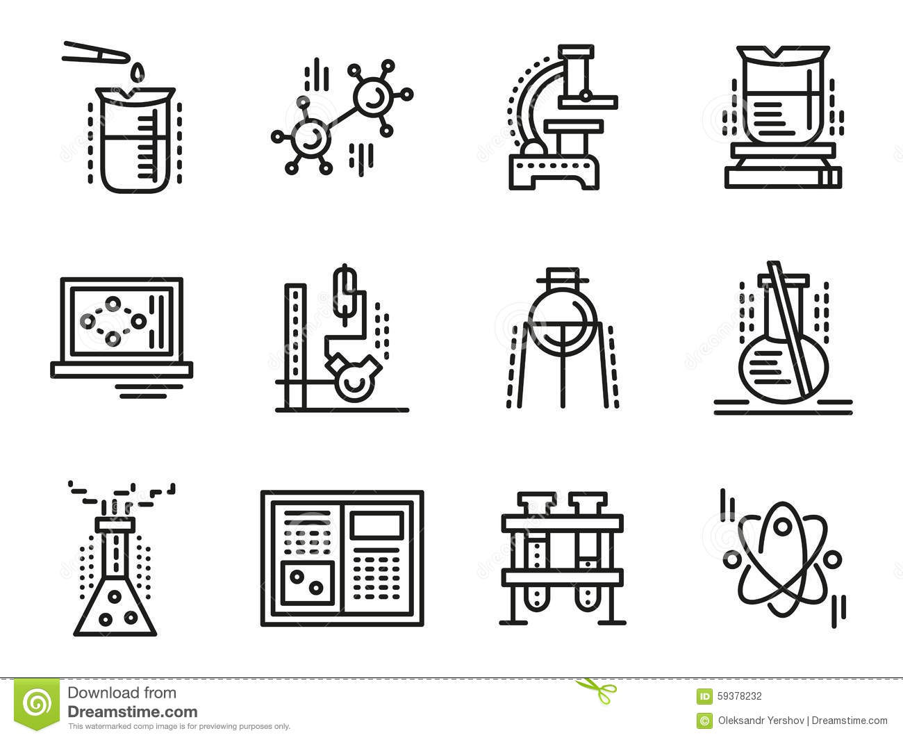 Chemistry Symbols Simple Line Icons Set Stock Illustration