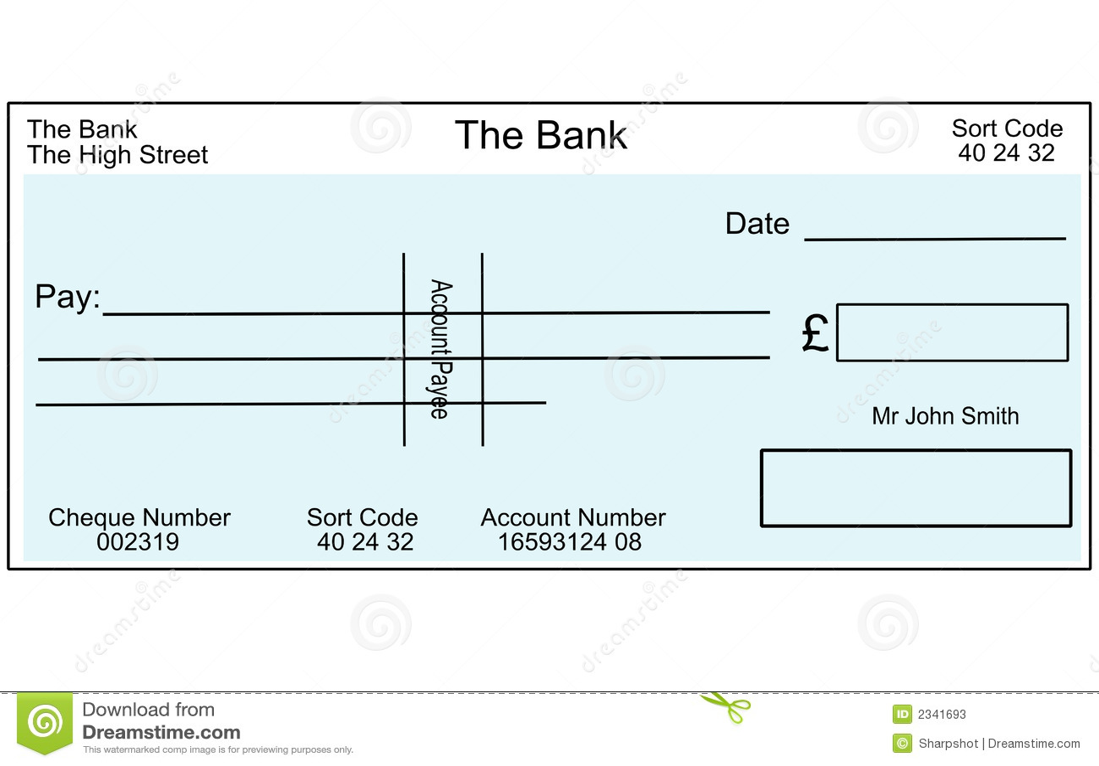 uma ilustração de um cheque britânico em branco