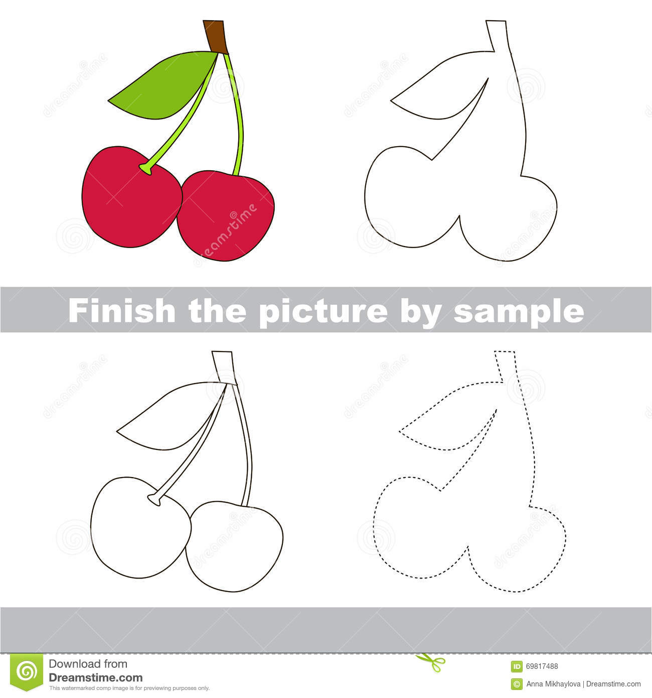 Cherry Drawing Worksheet Stock Vector Illustration Of