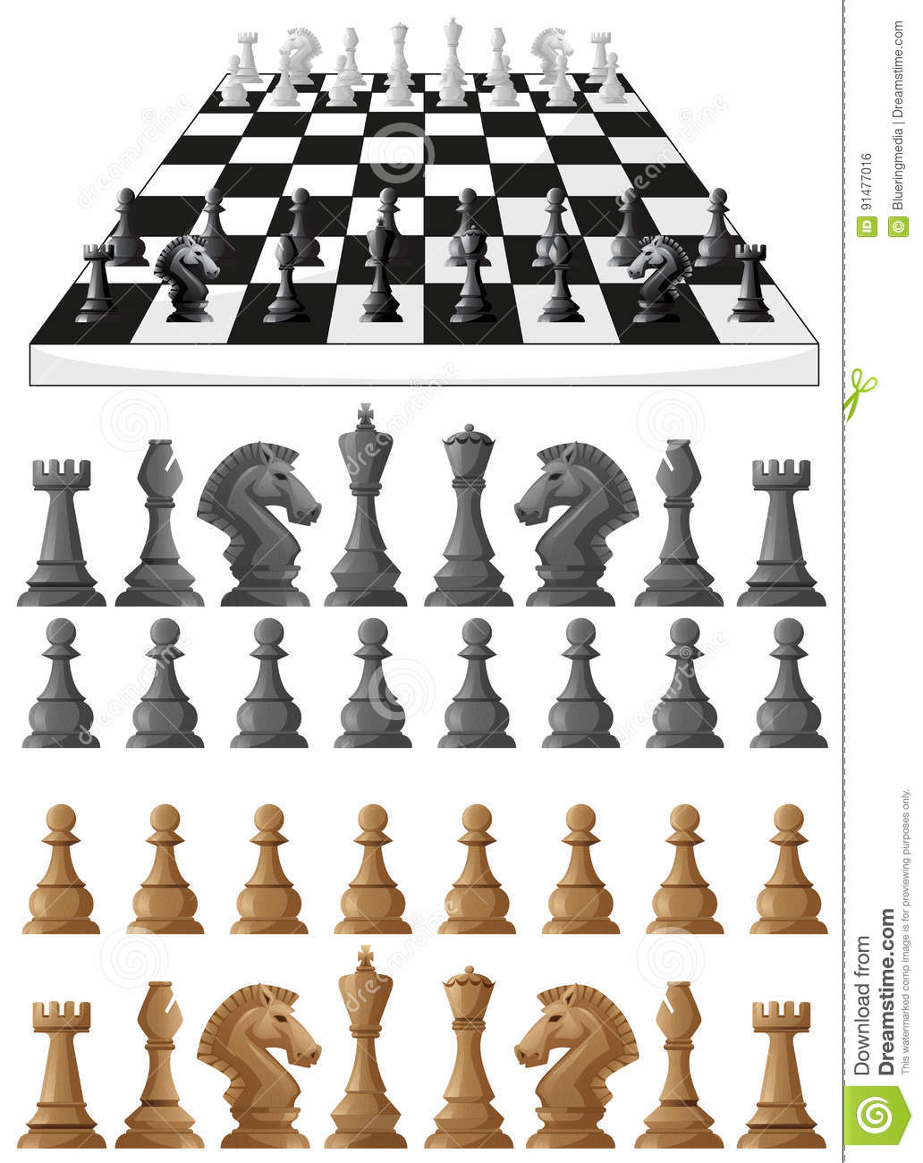 Chessboard And Different Chess Pieces Stock Vector