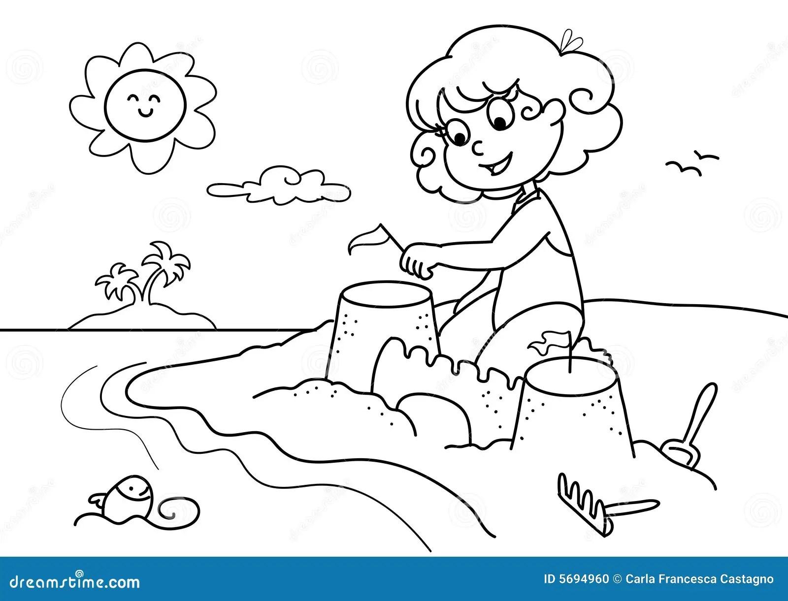 Chica Joven En El Bw De La Playa Ilustracion Del Vector