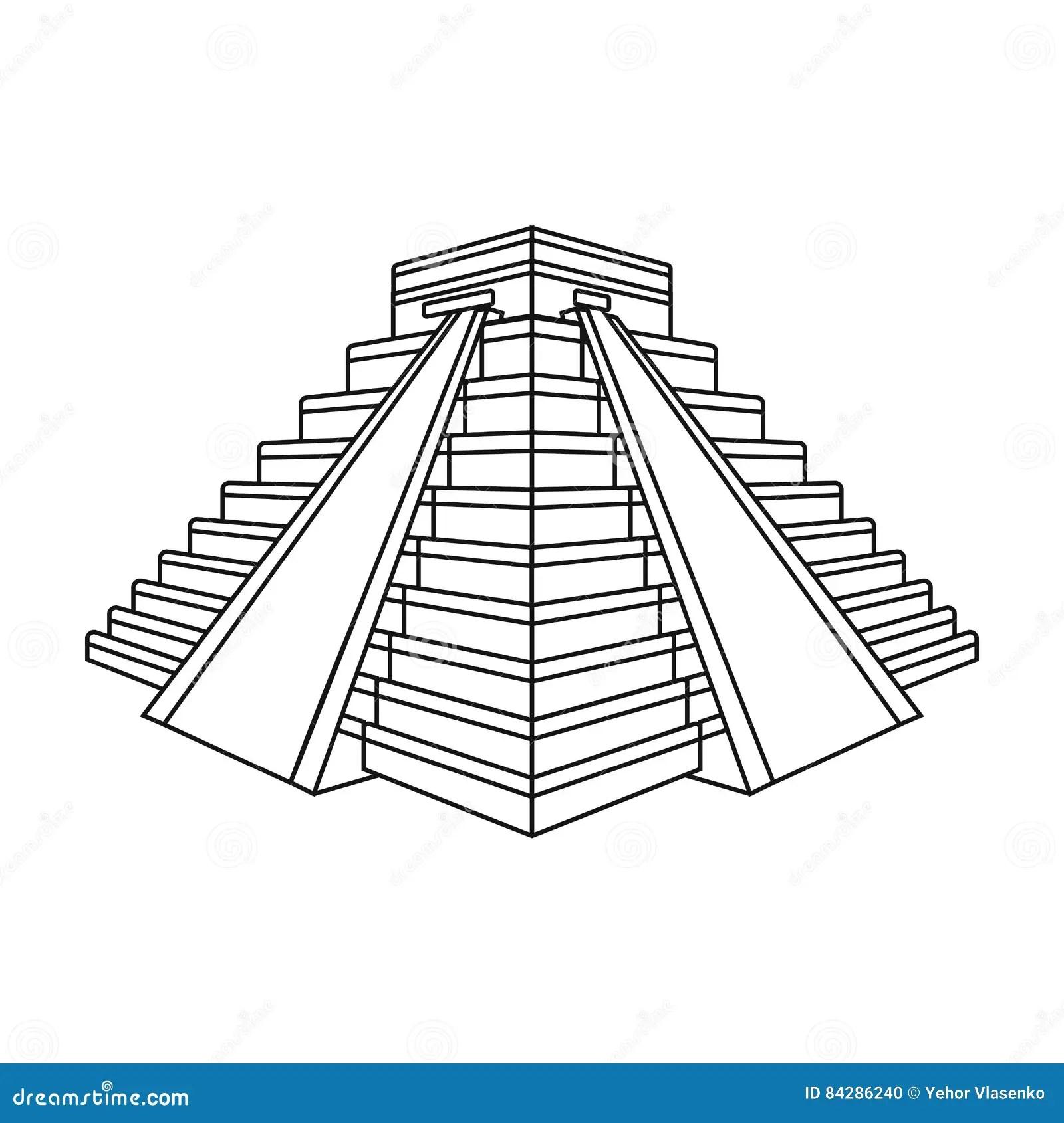 Mayan Pyramid Coloring Page Sketch Coloring Page