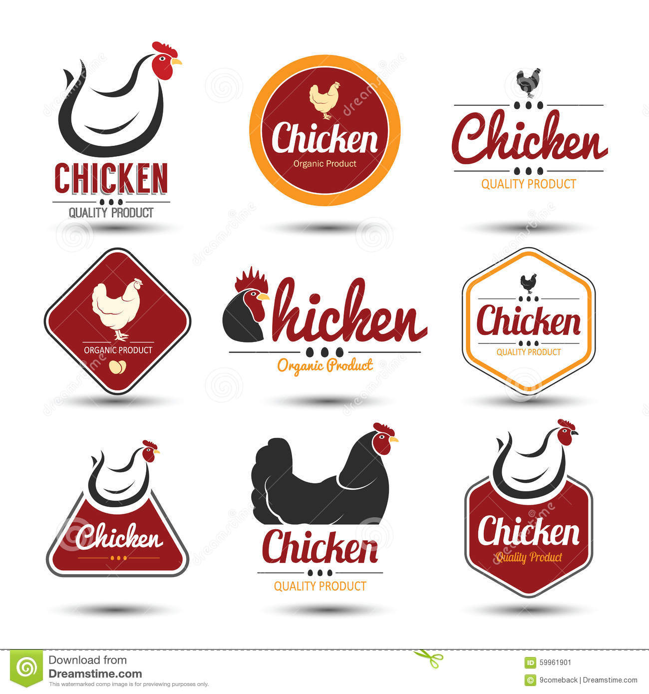 Chicken Label Stock Vector Illustration Of Poultry