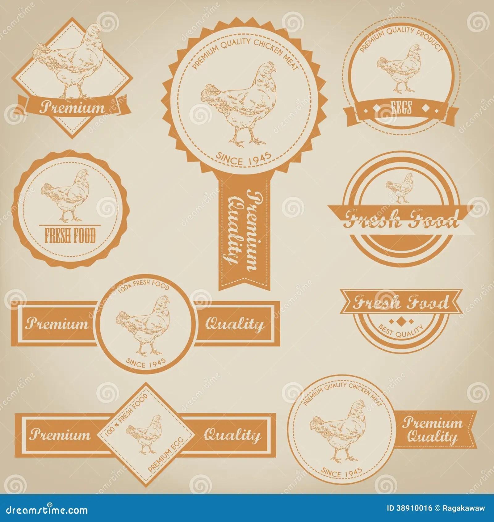 Chicken Meat Label Design Stock Vector Illustration Of