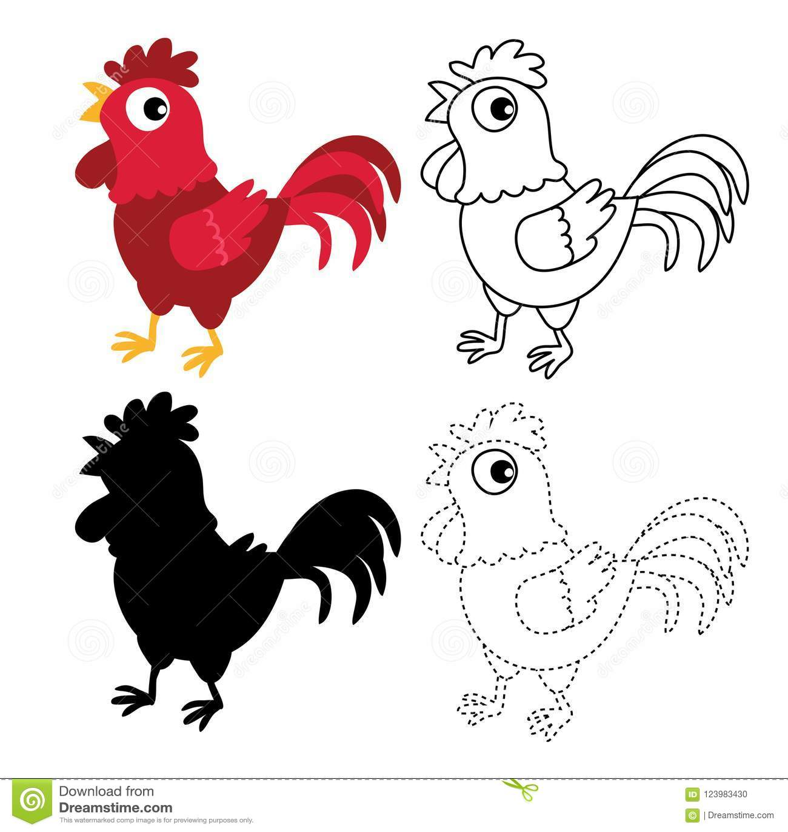 Chicken Worksheet Vector Design Stock Vector