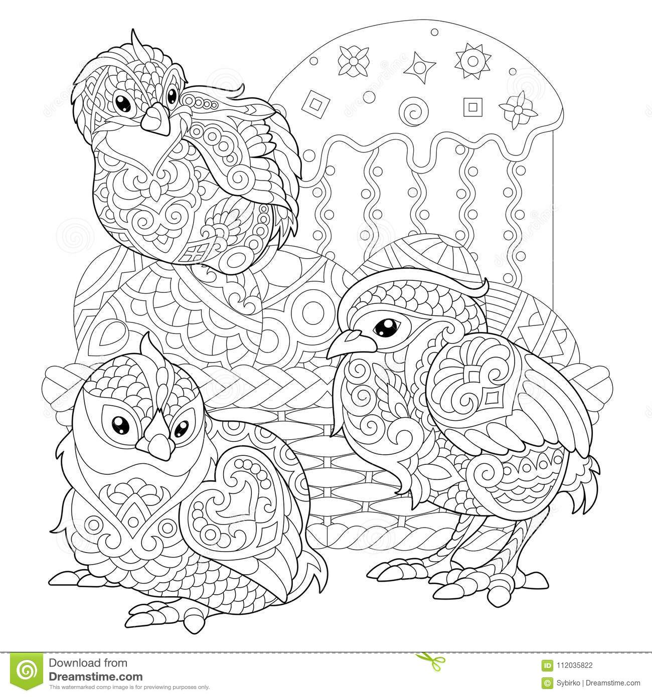 Zentangle Easter Chicks On Eggs Stock Vector
