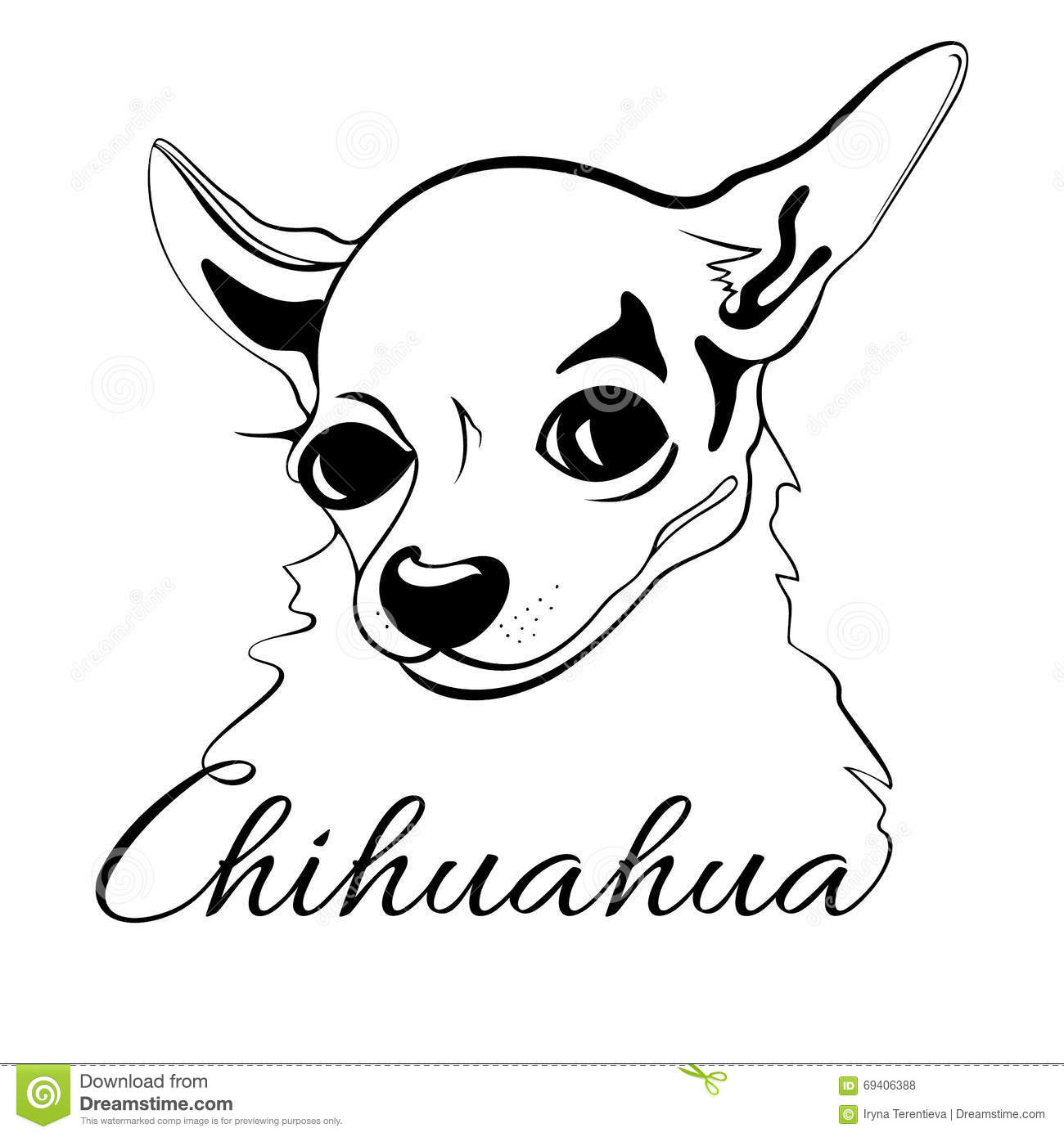 Chihuahua Dog Head Stock Vector Illustration Of Print