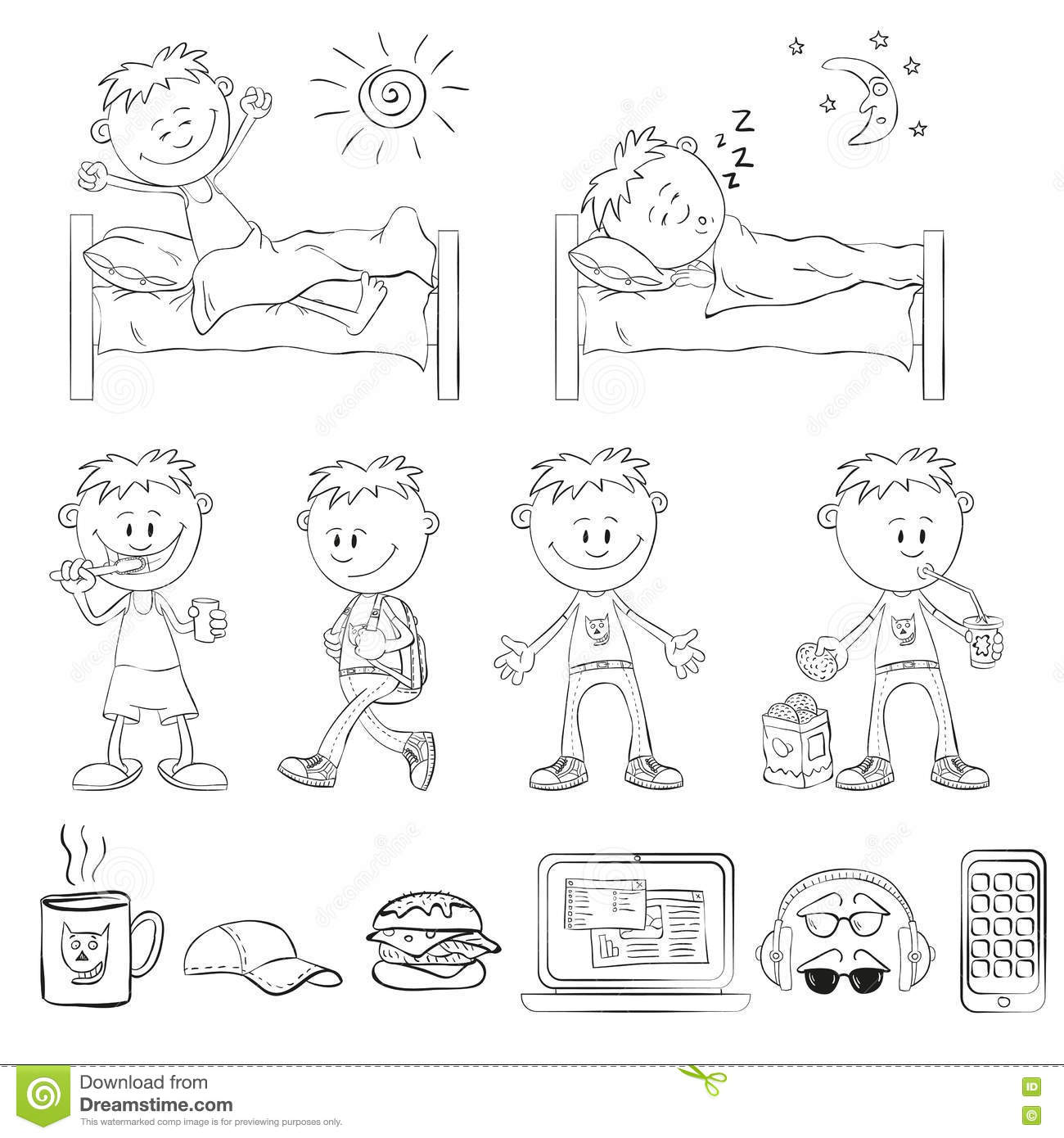 Boy Is Sleeping In His Bed Cartoon Vector