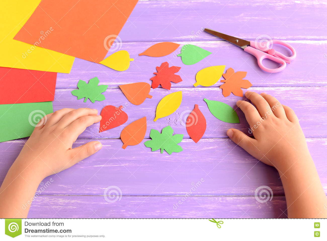 Child Cut Out Of Colored Paper Autumn Leaves Kid Doing