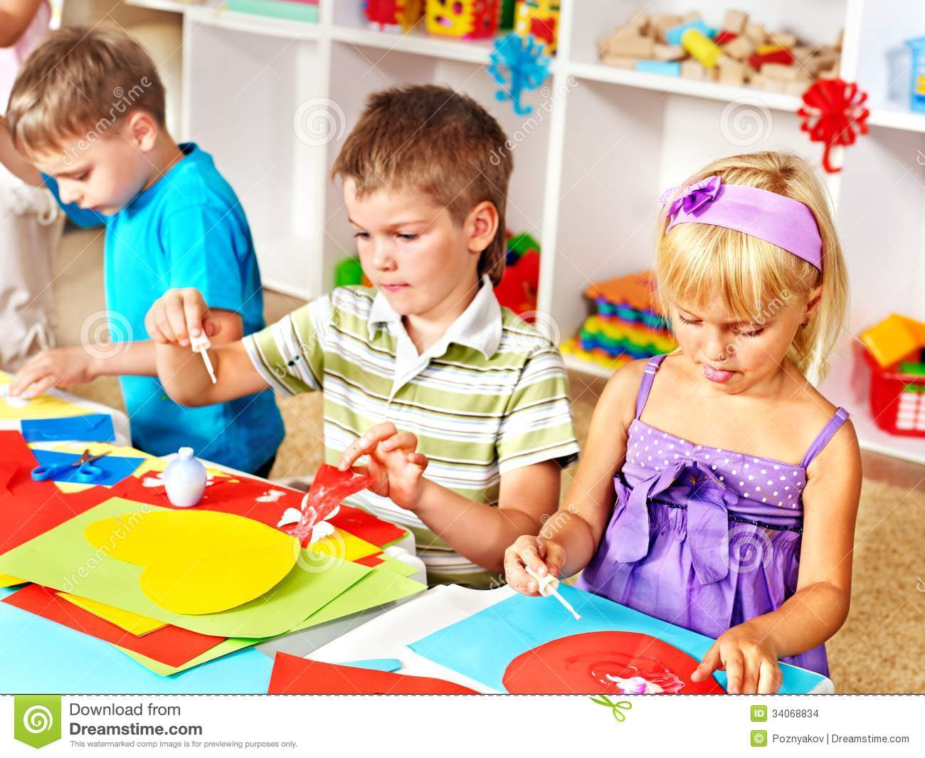 Child Cutting Out Scissors Paper Stock Photo