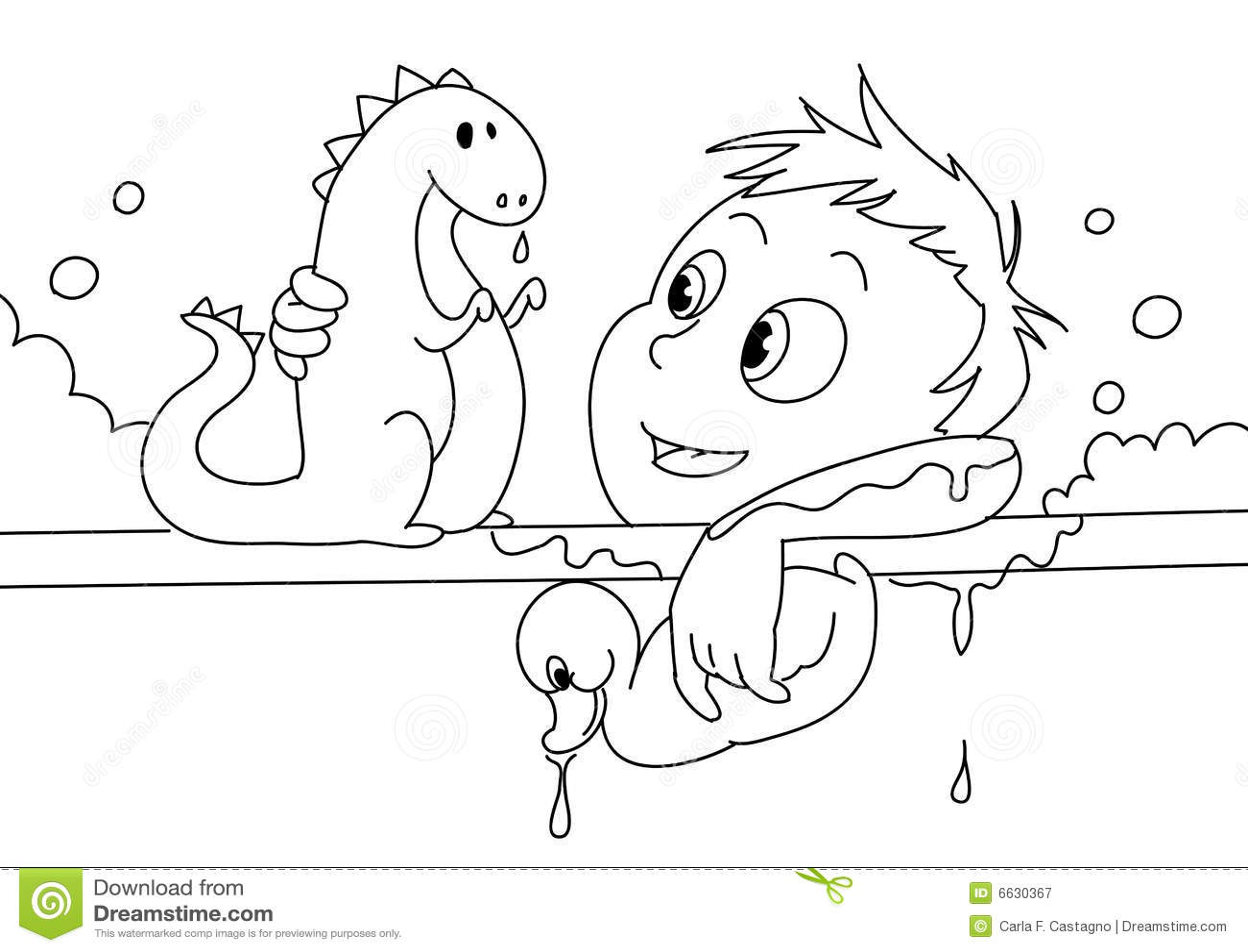 Child Having A Bath Bw Stock Vector Illustration Of Toys