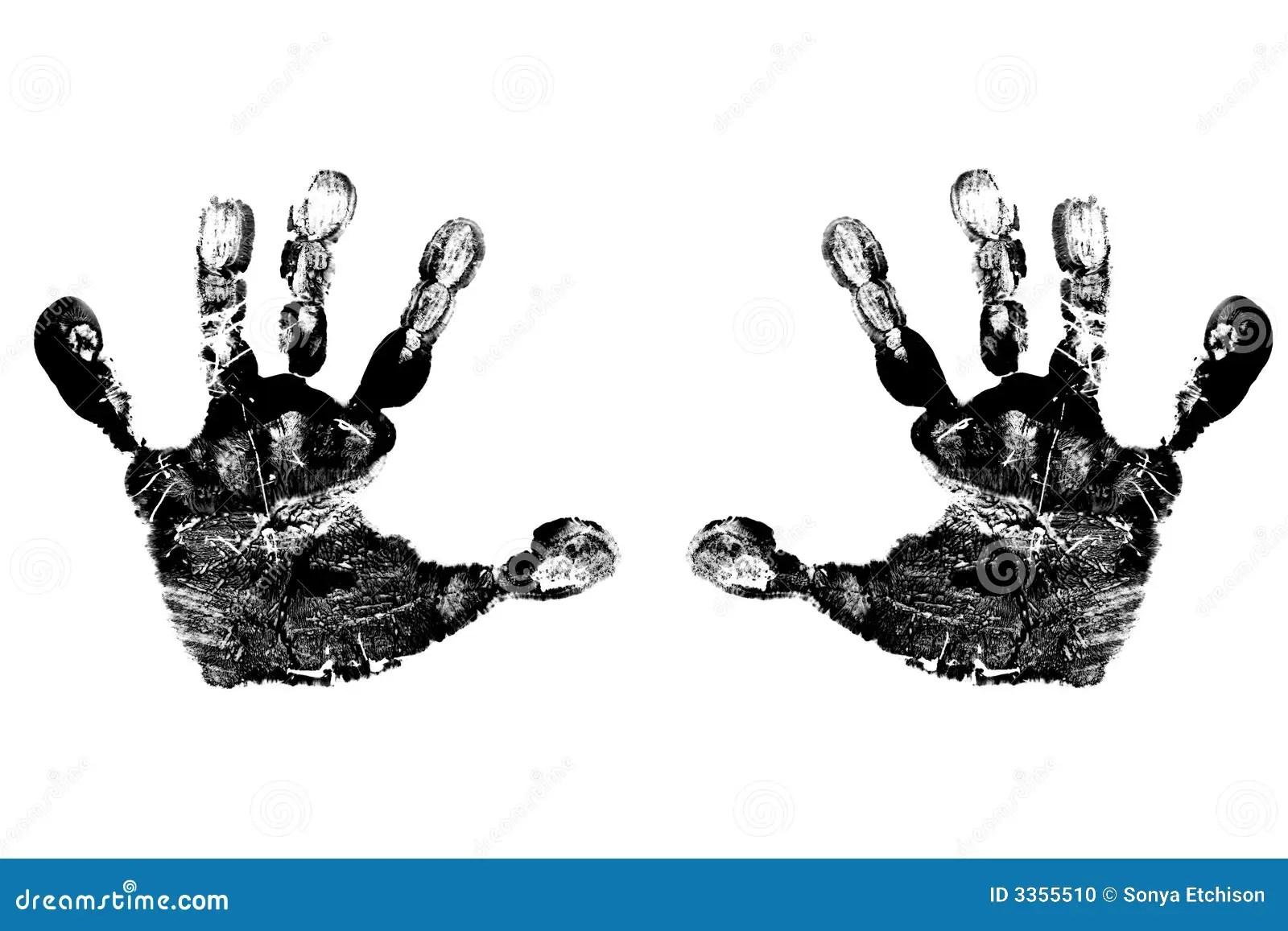Child S Black Handprints Stock Photo Image Of Print Baby