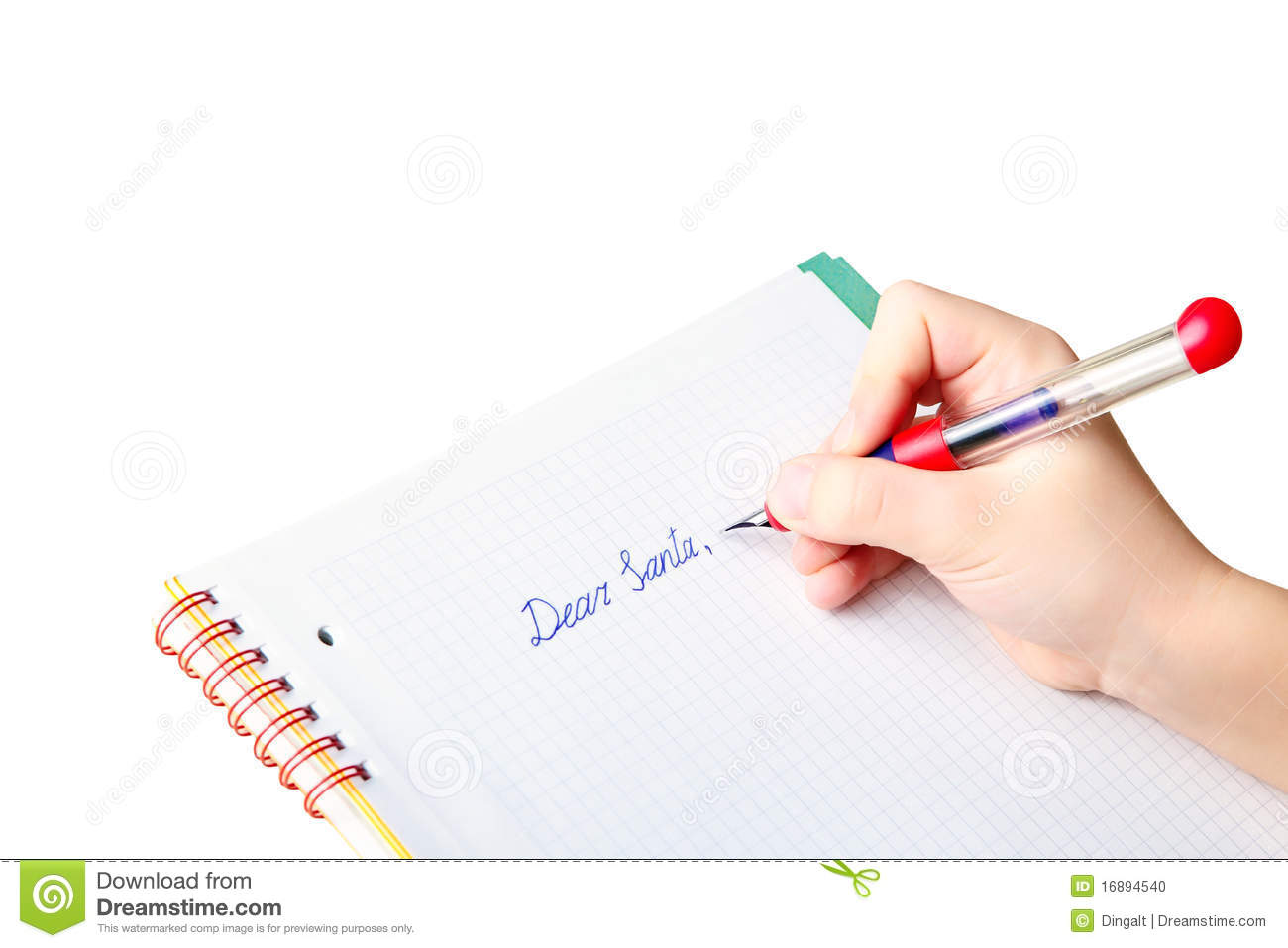 Child S Hand Writing Letter To Santa Claus Stock Photo