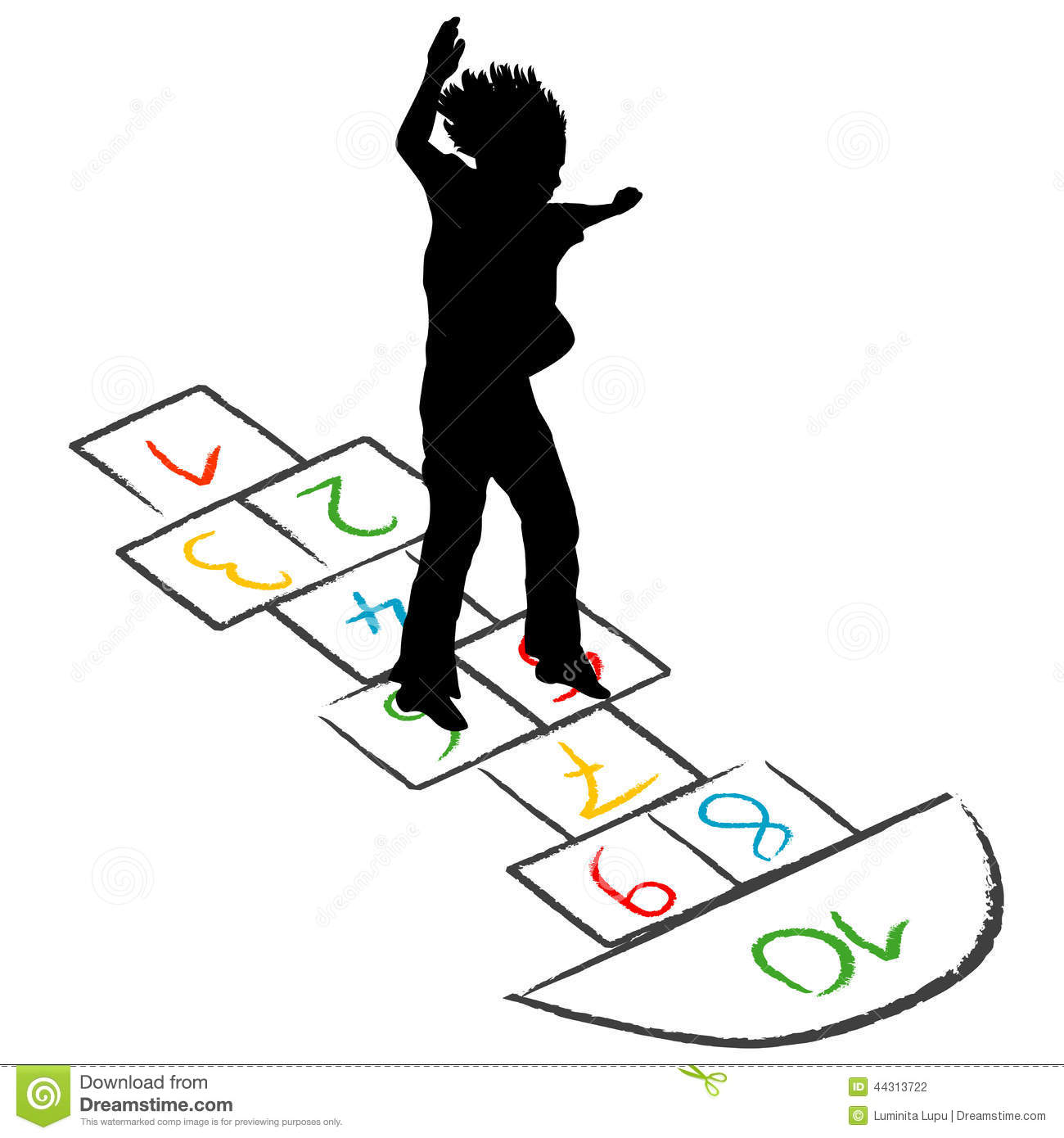 Child Silhouette Jumping Over Hopscotch Stock Vector