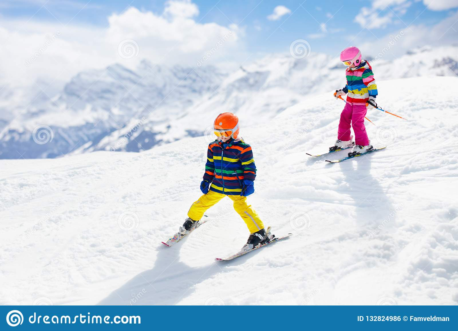 Ski And Snow Winter Fun For Kids Children Skiing Stock
