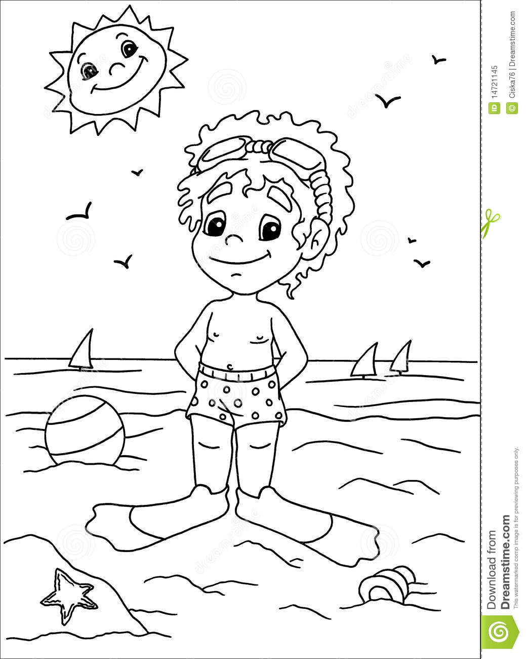 Child To The Sea In Black And White Stock Illustration