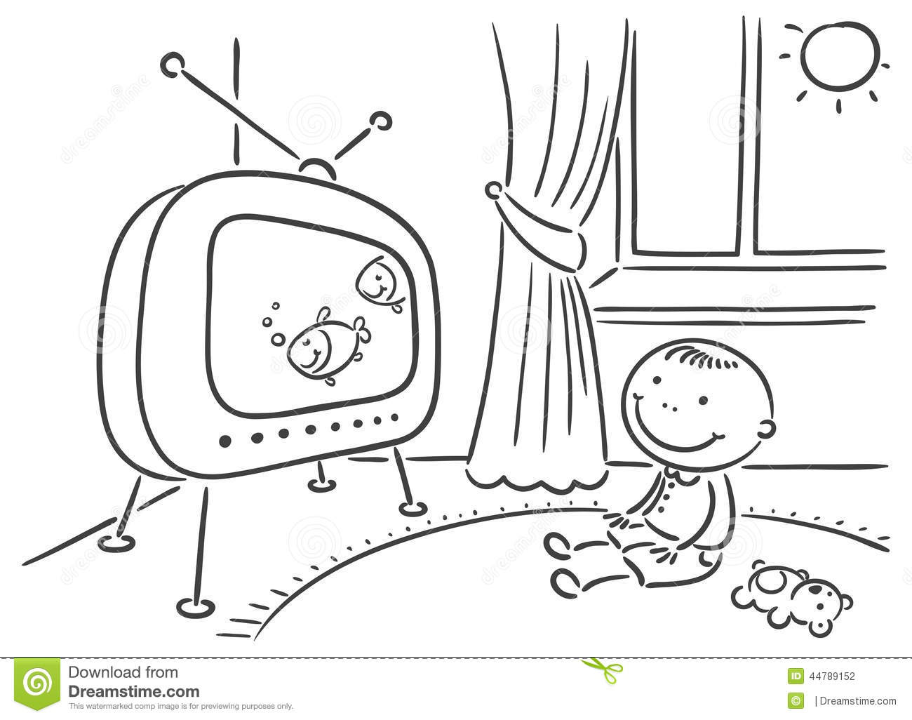 child watching tv in his room stock vector image 44789152
