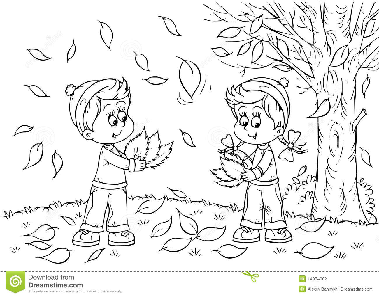 Children In Autumn Stock Illustration Illustration Of Book