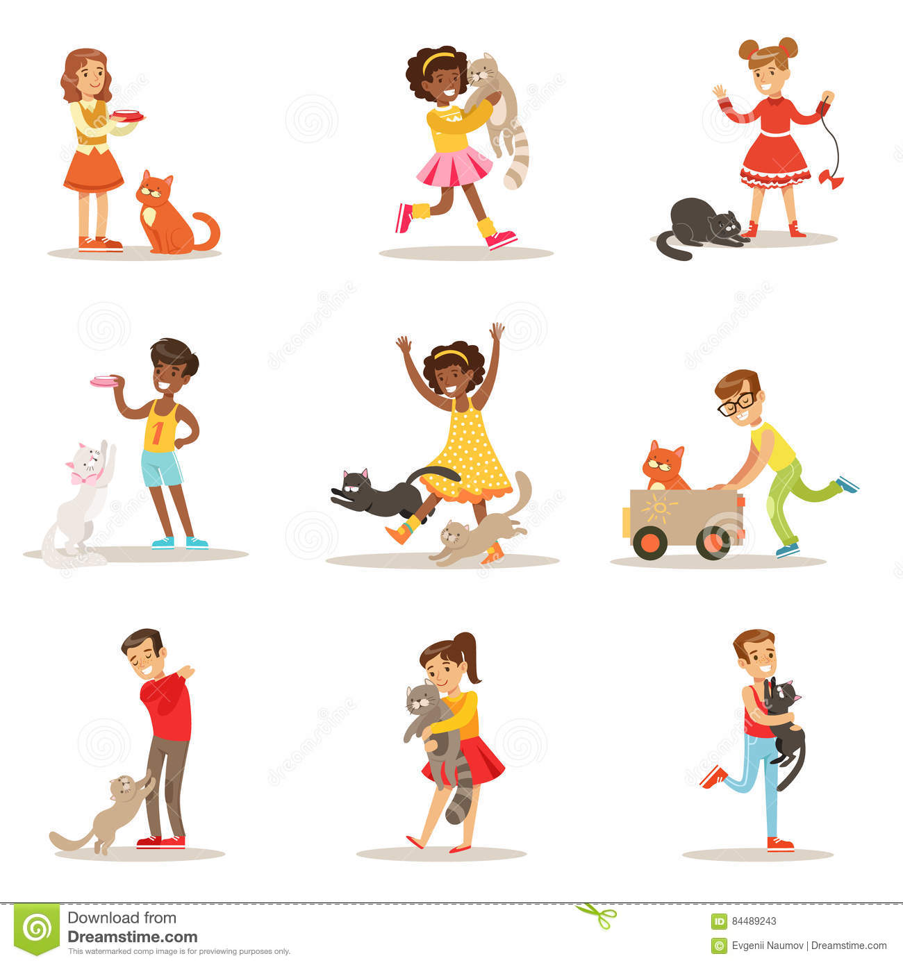 Girl Boy Are Playing Vector Illustrations Stock Illustration