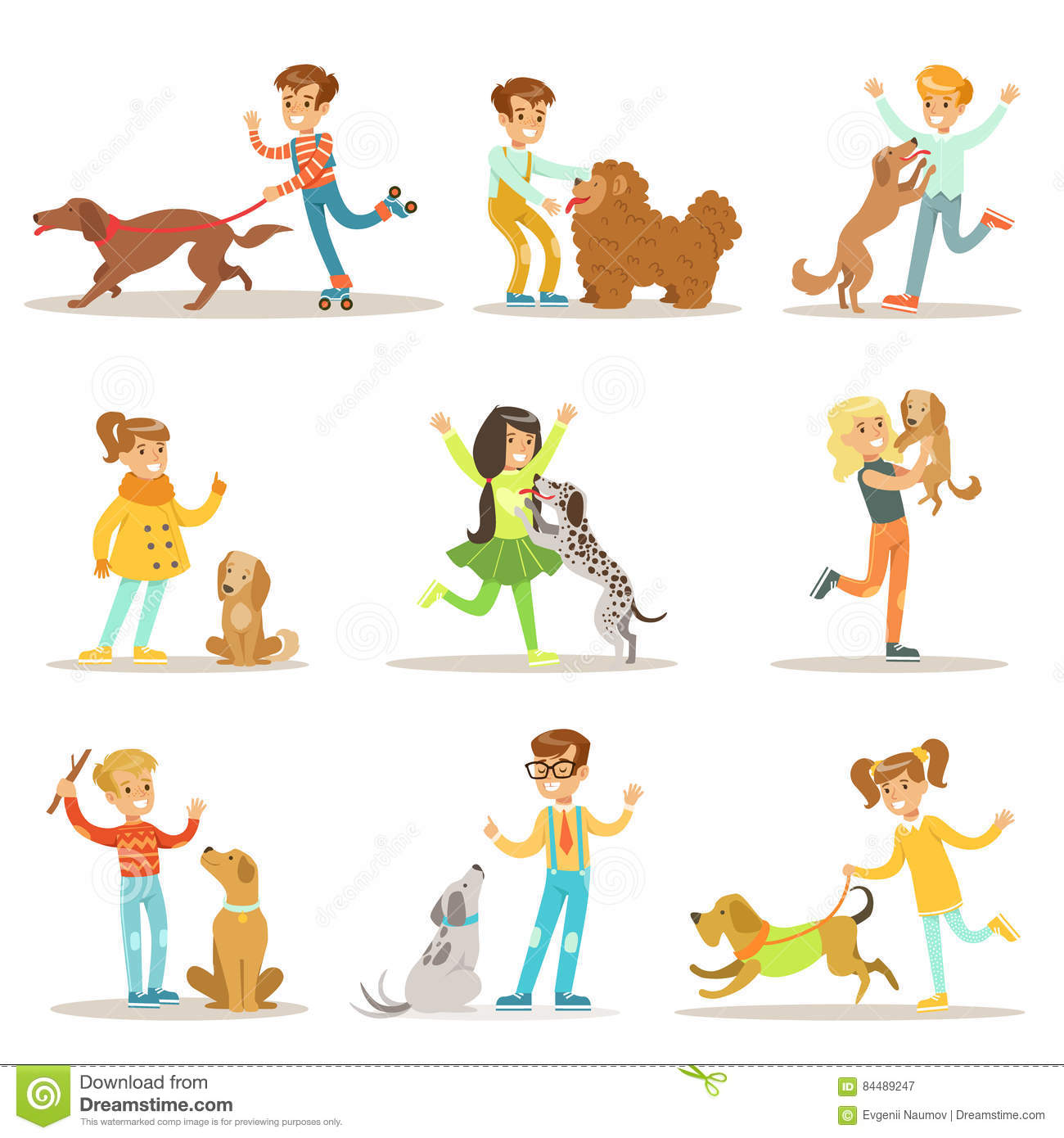 Children And Dogs Illustrations Set With Kids Playing And