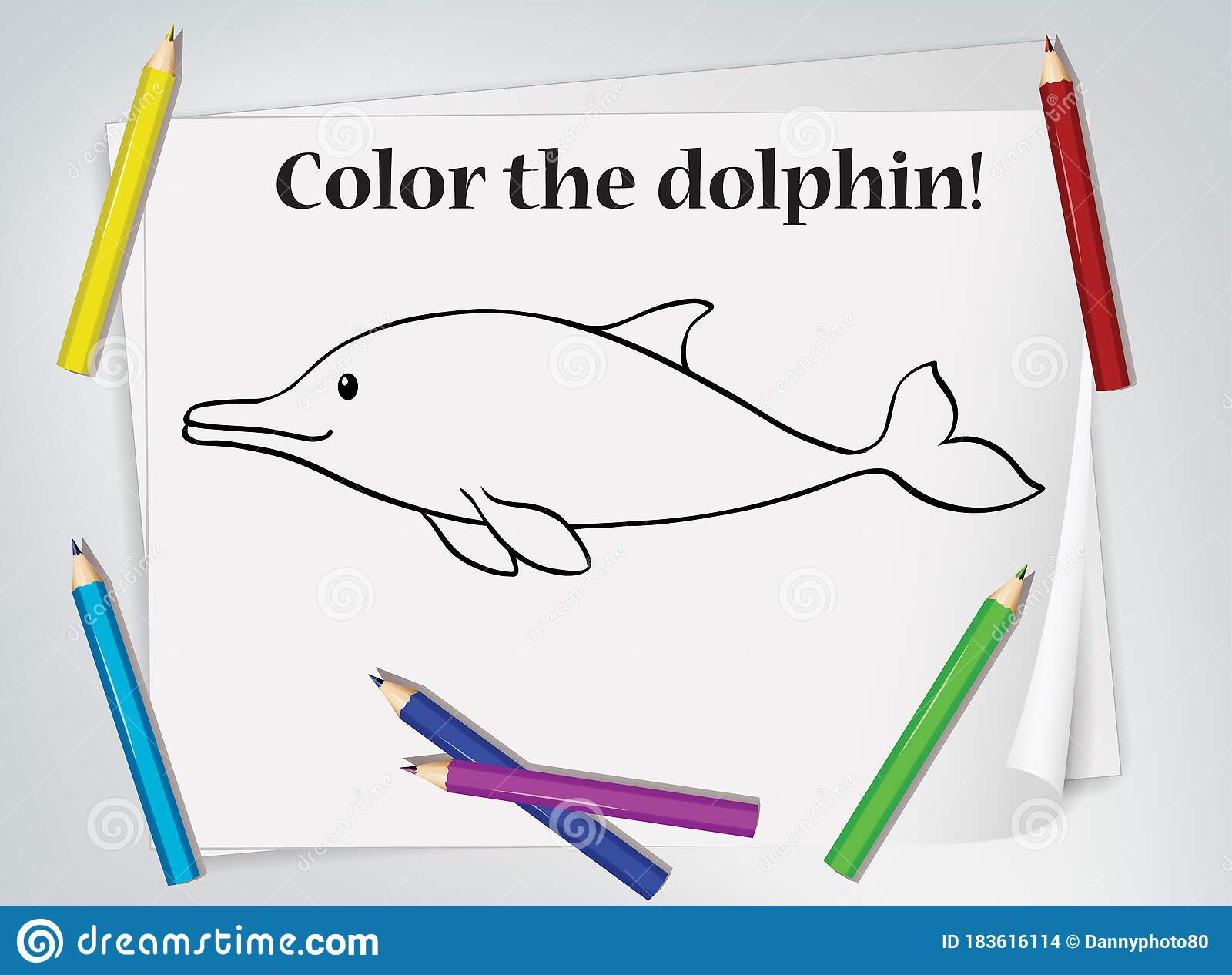 Children Dolphin Coloring Worksheet Stock Vector