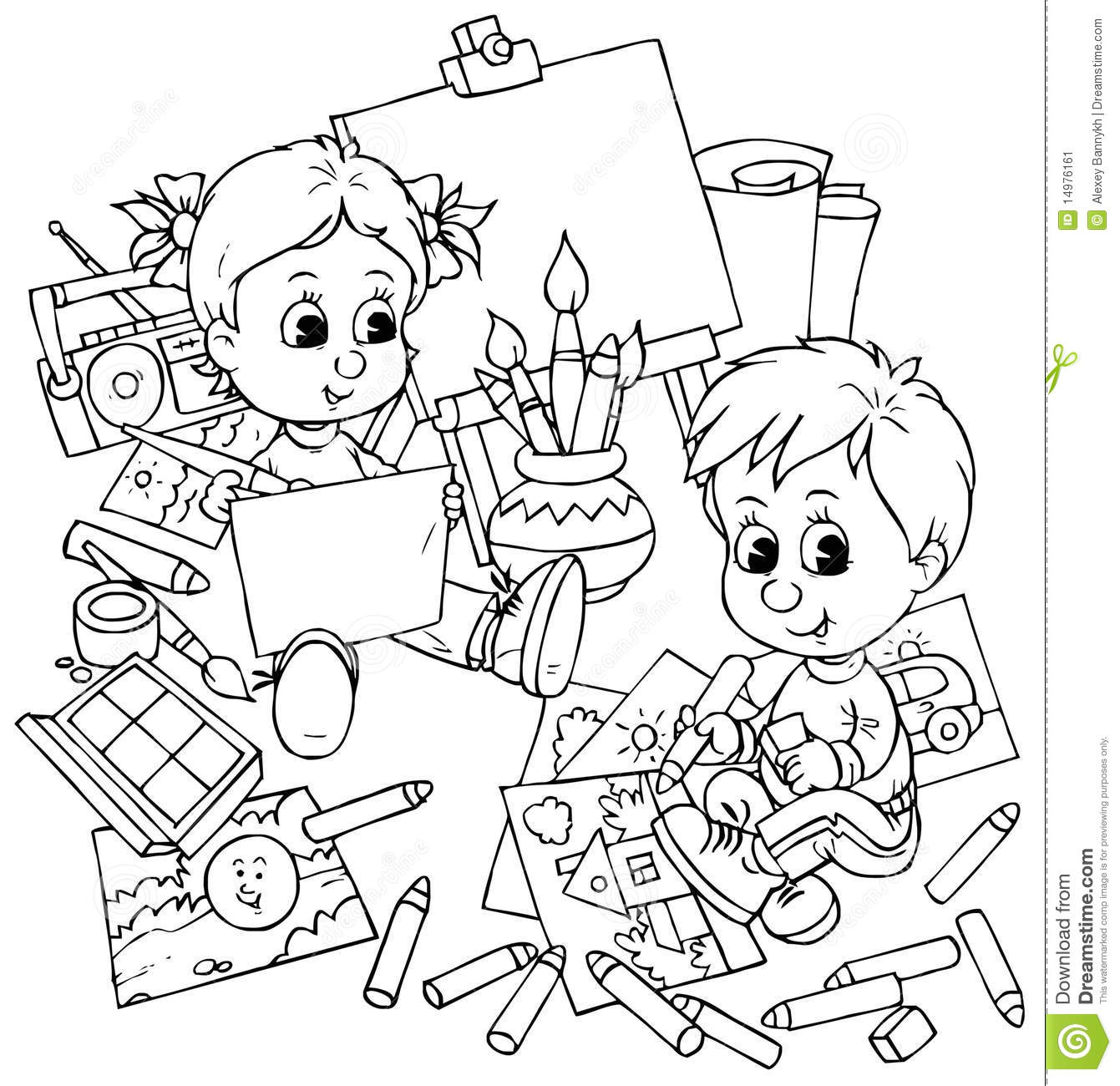 Children Draw Stock Illustration Illustration Of Sketch