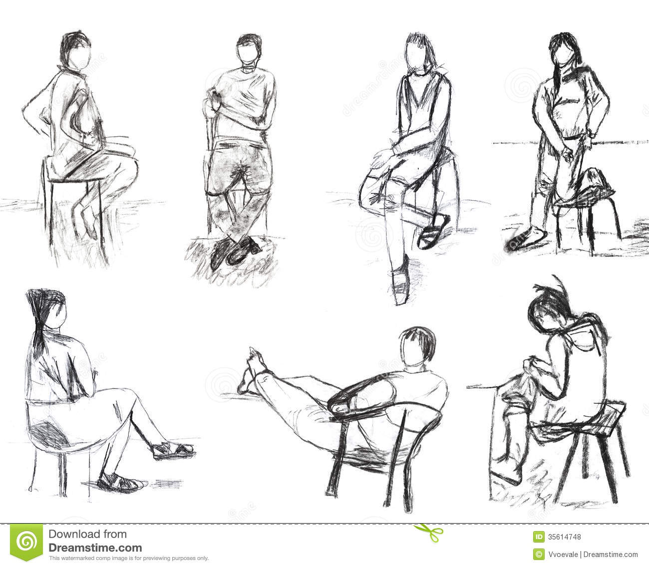 Human Sitting Sketches