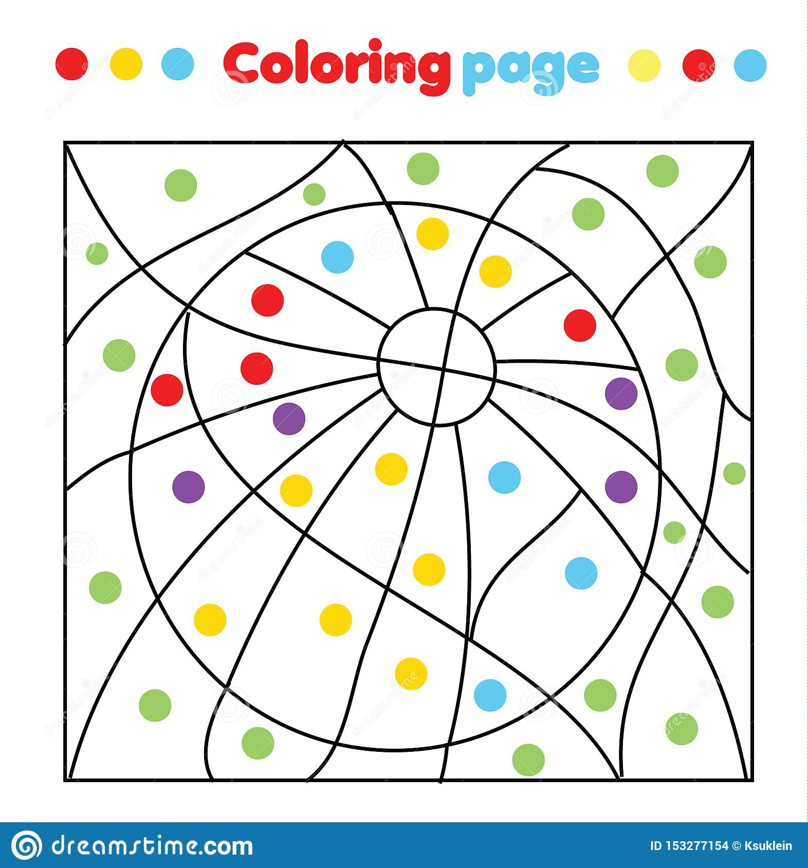 Children Educational Game Coloring Page With Ball Color