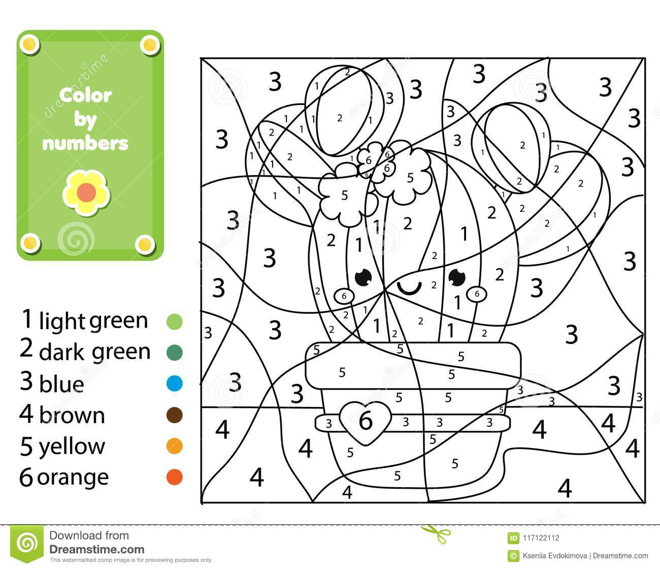 Children Educational Game Coloring Page With Cactus Plant Color By Numbers Printable Activity
