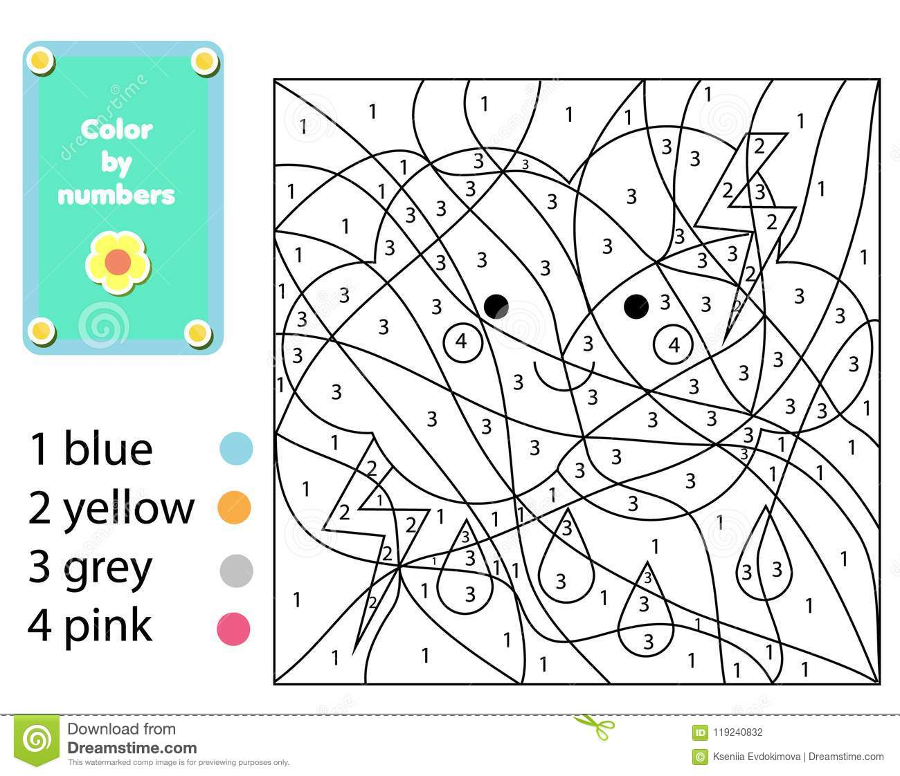Children Educational Game Coloring Page With Cute Cloud Color By Numbers Printable Activity