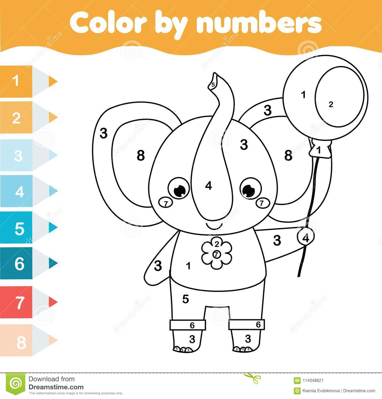 Children Educational Game Coloring Page With Elephant