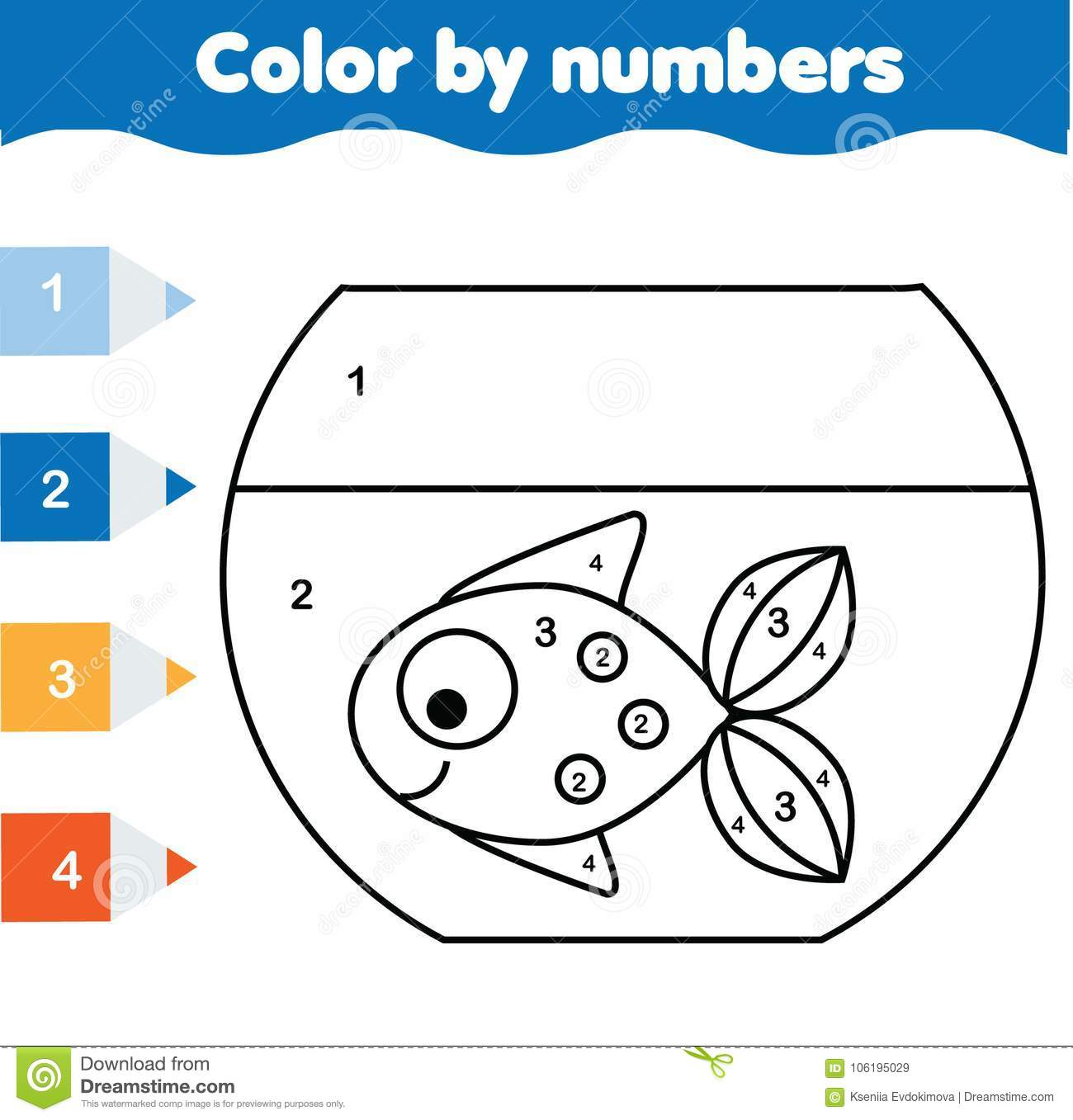 Children Educational Game Coloring Page With Fish In Aquarium Color By Numbers Printable