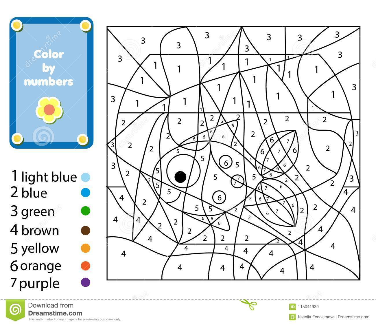 Children Educational Game Coloring Page With Fish In Bowl