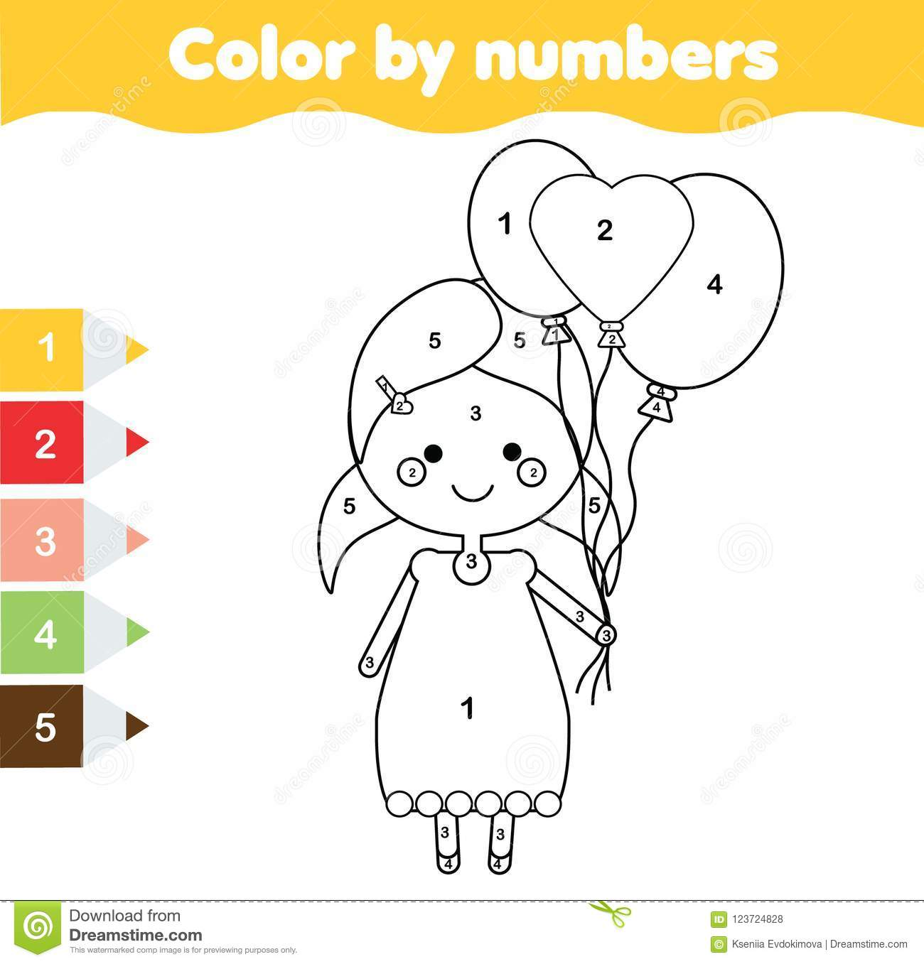 Coloring Page With Girl Holding Balloons Color By Numbers