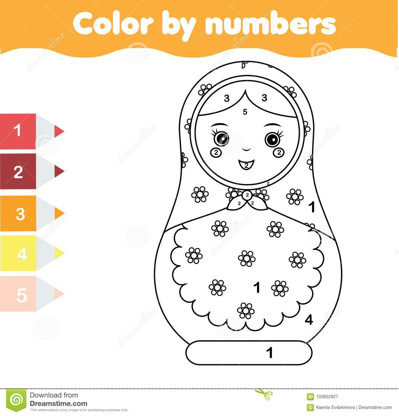 Children Educational Game Coloring Page With Matreshka