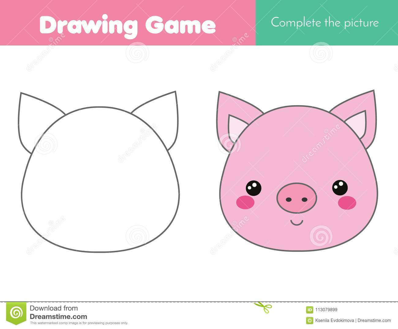 Children Educational Game Complete The Picture Coloring