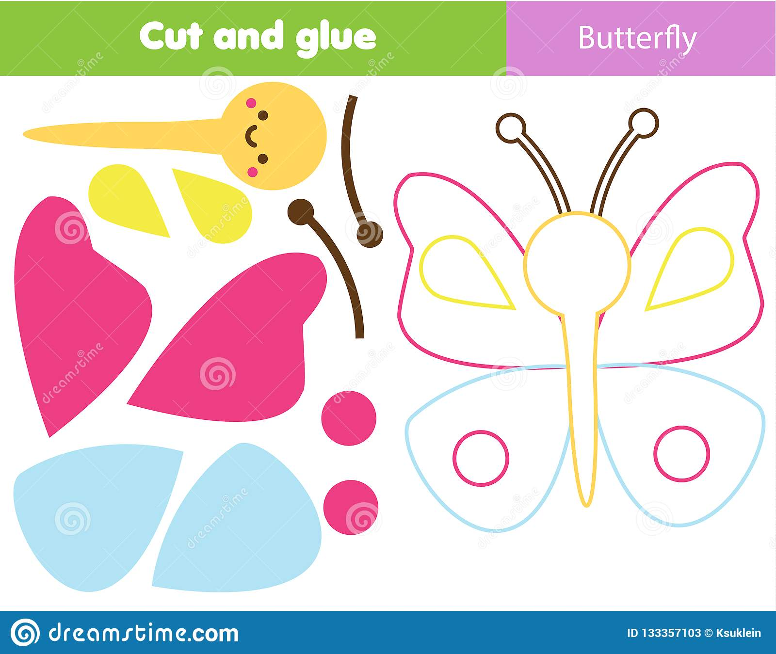 Children Educational Game Cut And Glue Make A Butterfly With Scissors Animals Theme Worksheet