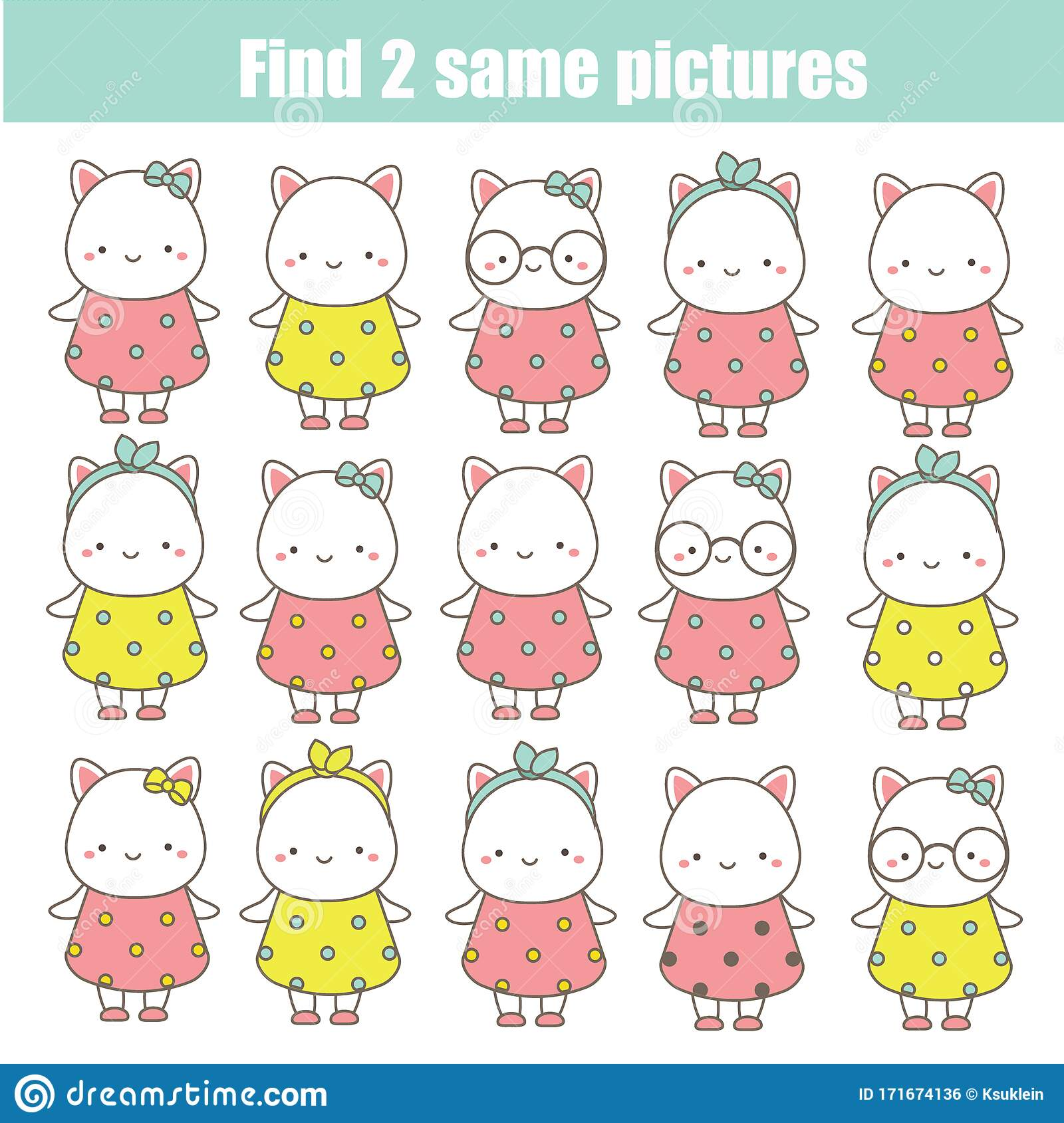 Children Educational Game Find The Same Pictures Find