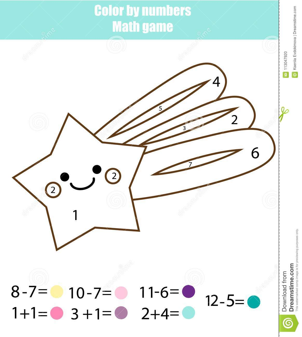 Children Educational Game Mathematics Actvity Color By