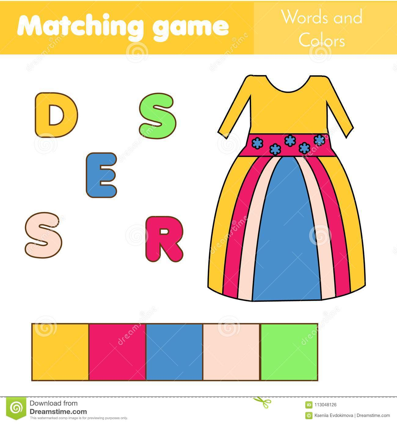 Children Educational Game Words Puzzle Match By Color